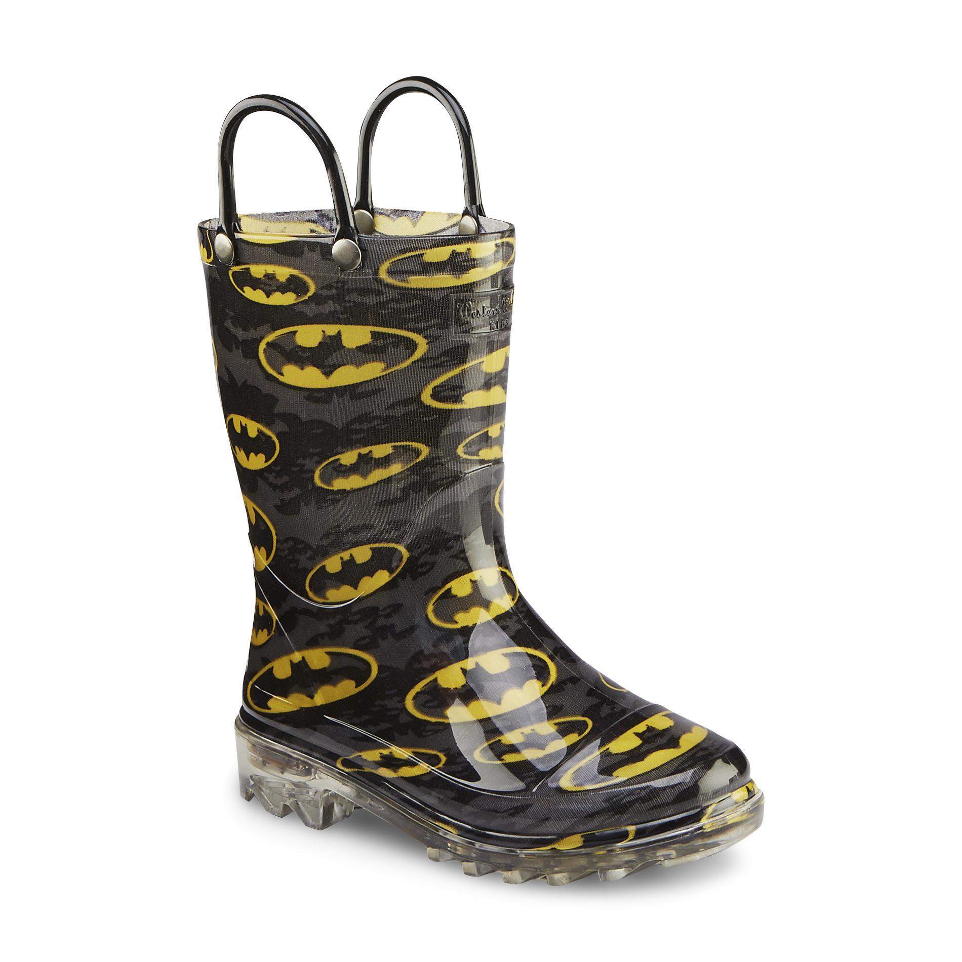 Western Chief Boy's Batman Signal Night Lighted Black/Yellow Light-Up Rain Boot