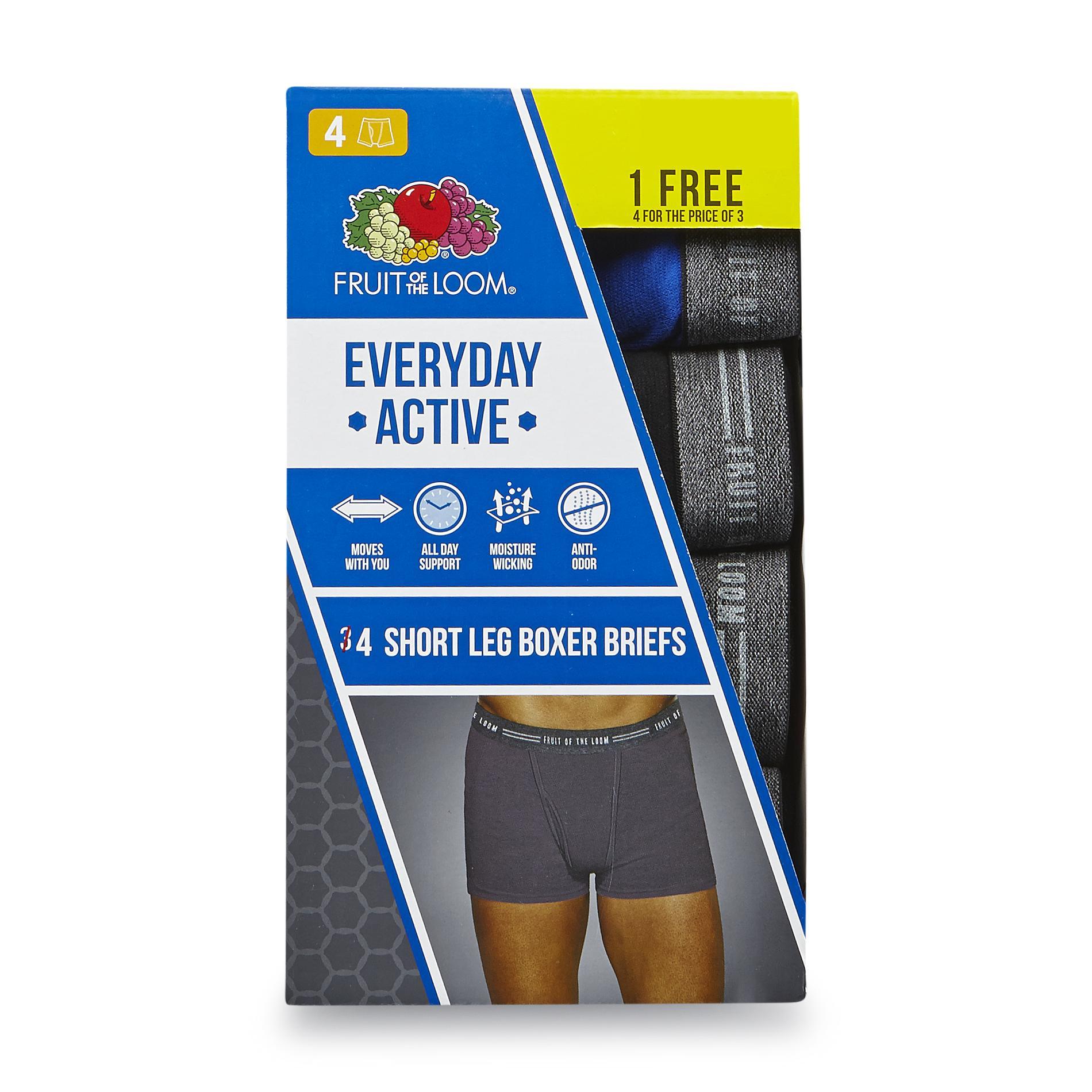 Fruit of the Loom Men's 4-Pack Short Leg Boxer Briefs