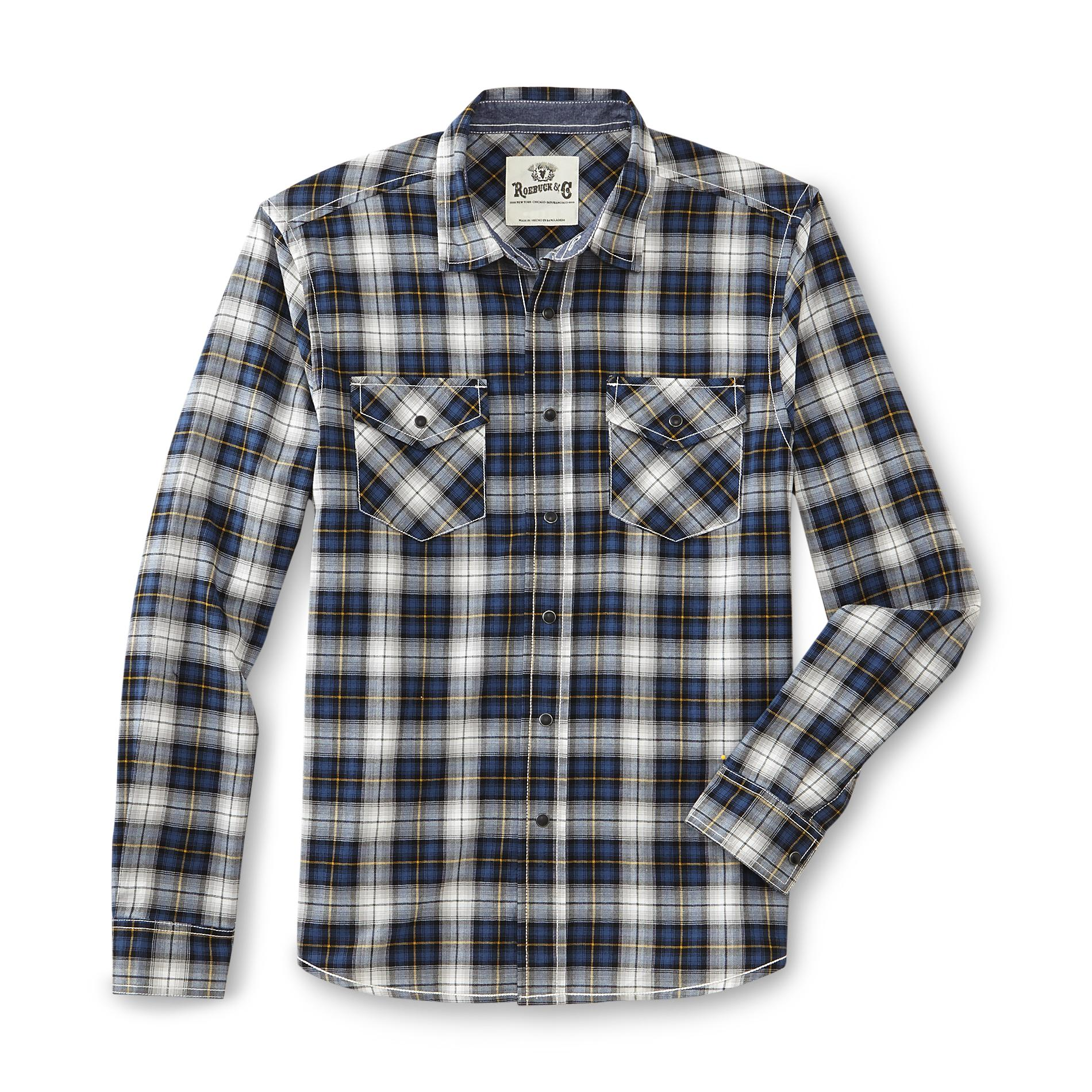 Roebuck & Co. Young Men's Snap-Front Casual Shirt - Plaid