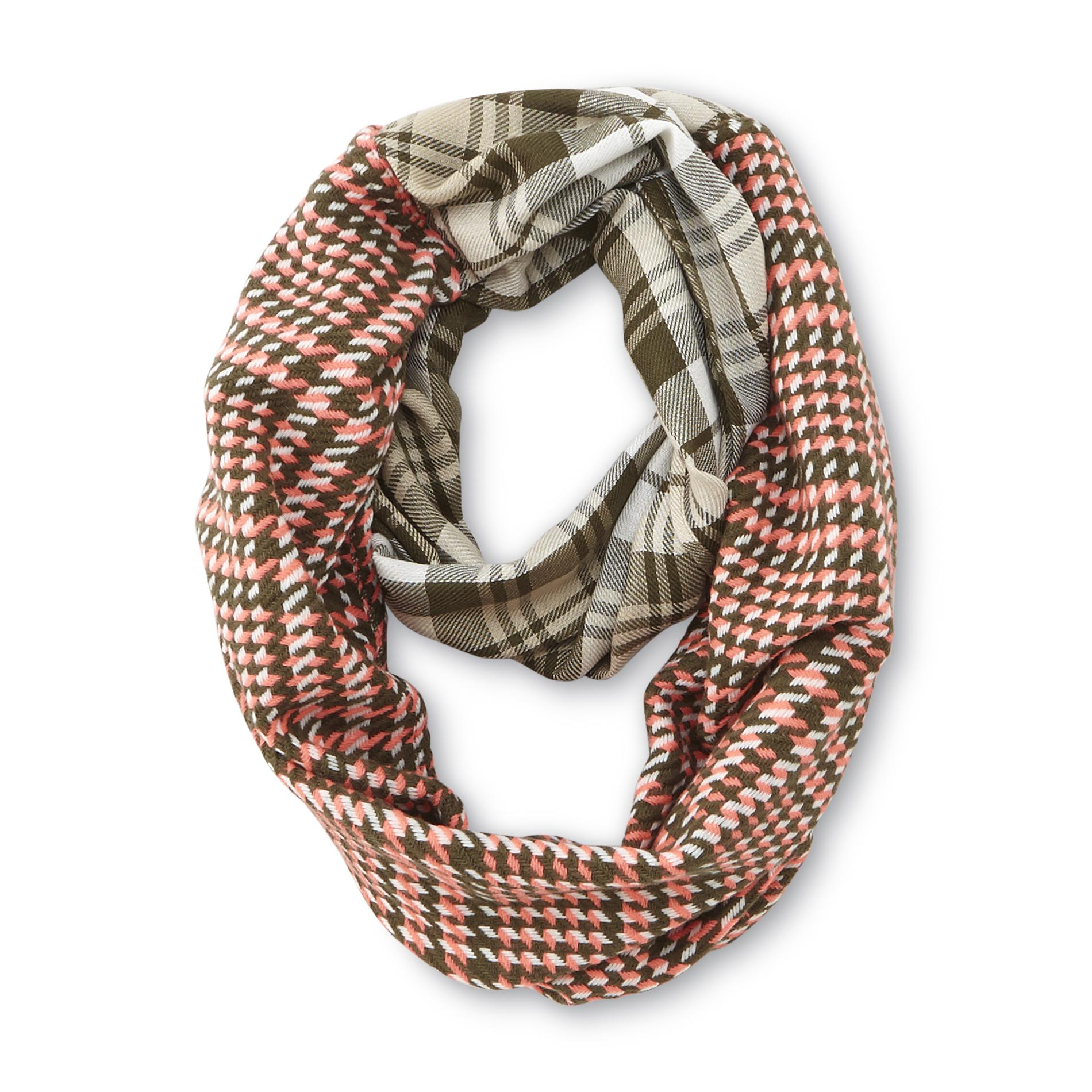 Joe Boxer Women's Woven Infinity Scarf - Dual Plaid Pattern
