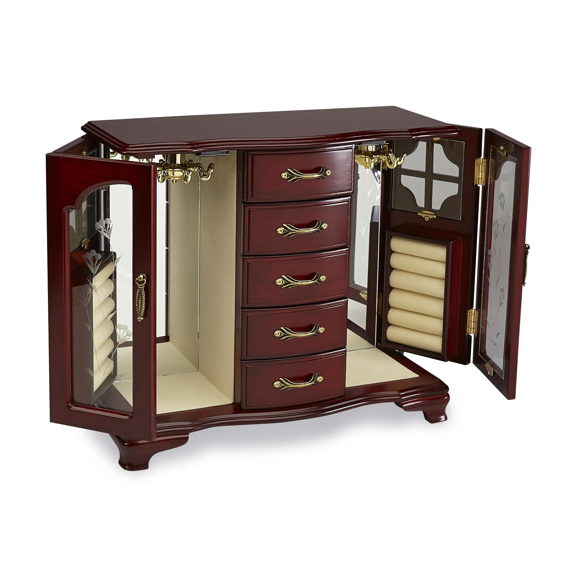 Jaclyn Smith Wooden Double-Door Upright Jewelry Chest