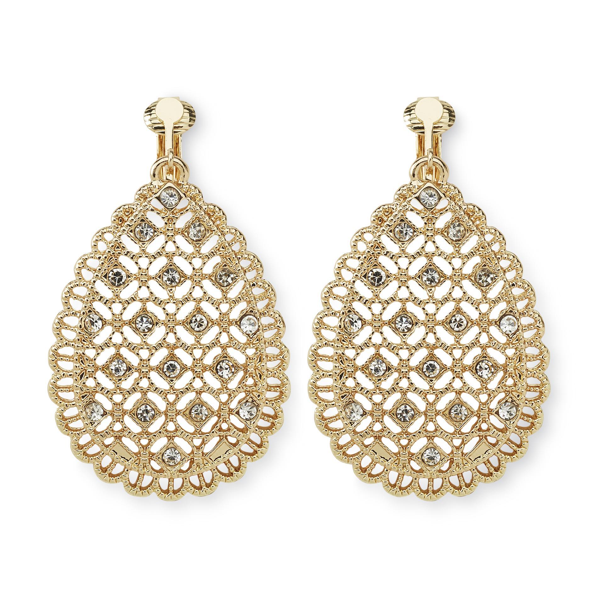 Jaclyn Smith Women's Goldtone Jeweled Clip-On Drop Earrings