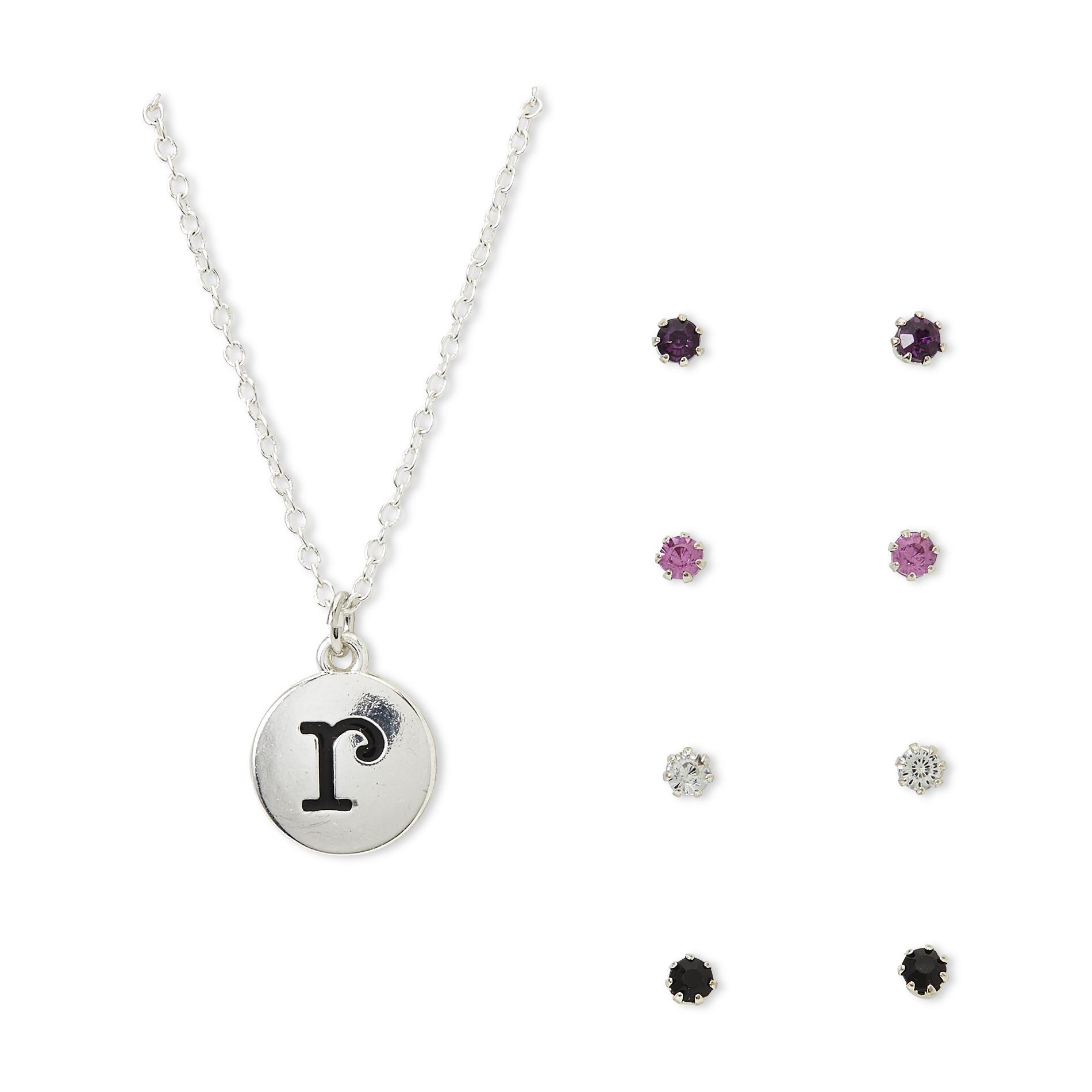 Jaclyn Smith Women's 4-Pairs Stud Earrings & Silvertone Pendant Necklace