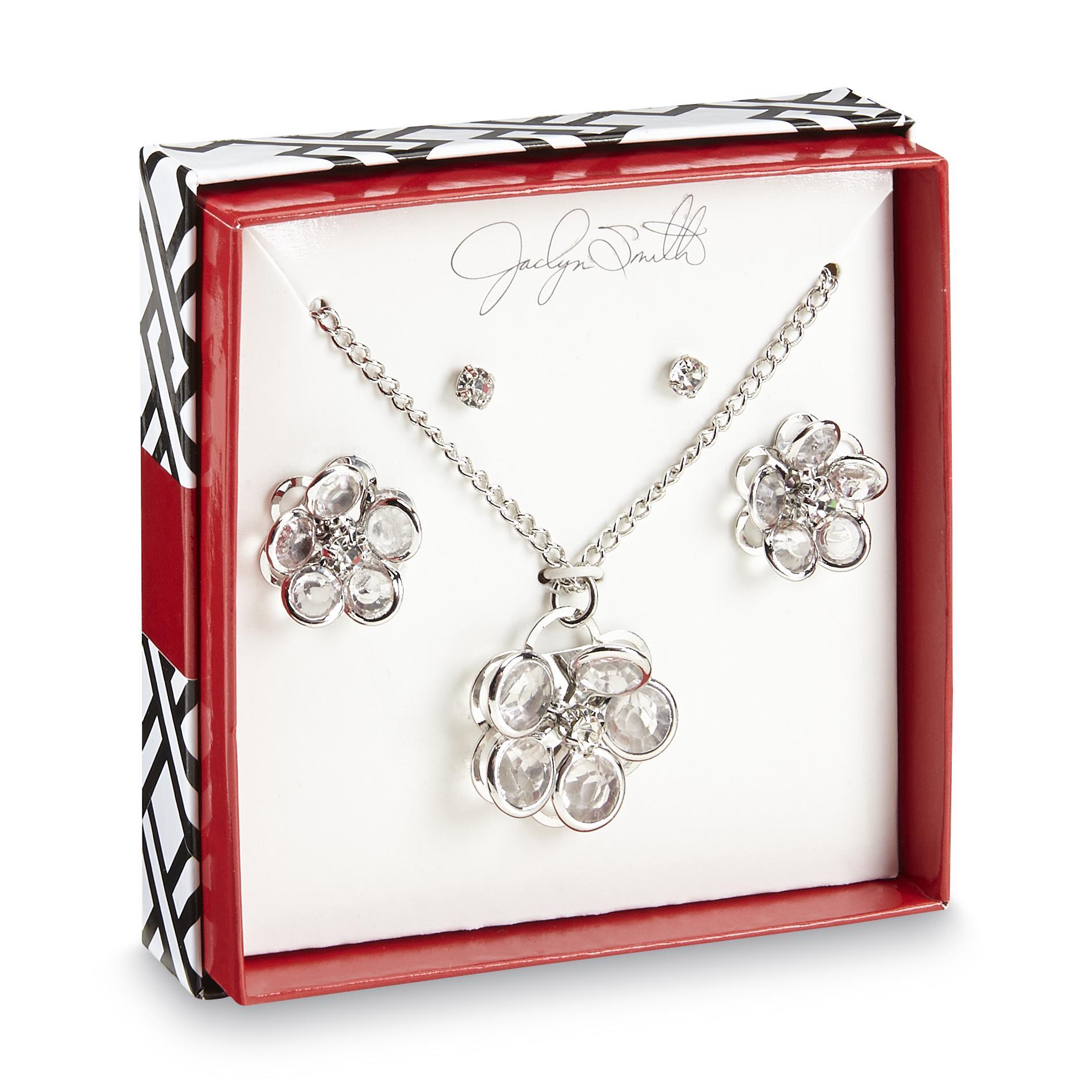 Women's 2-Pairs Stud Earrings & Silvertone Pendant Necklace