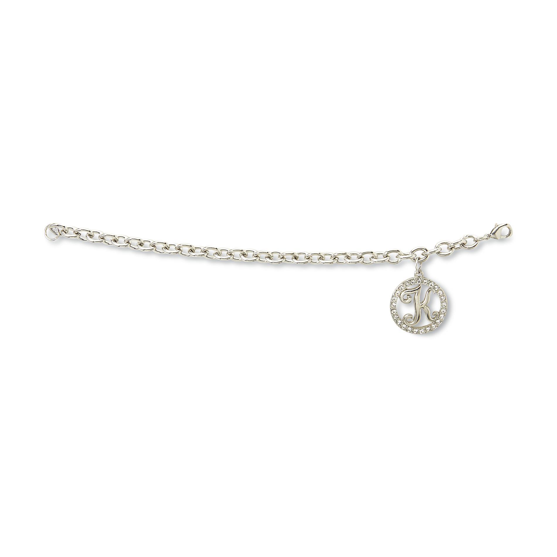 Jaclyn Smith Women's Silvertone Initial Bracelet - K