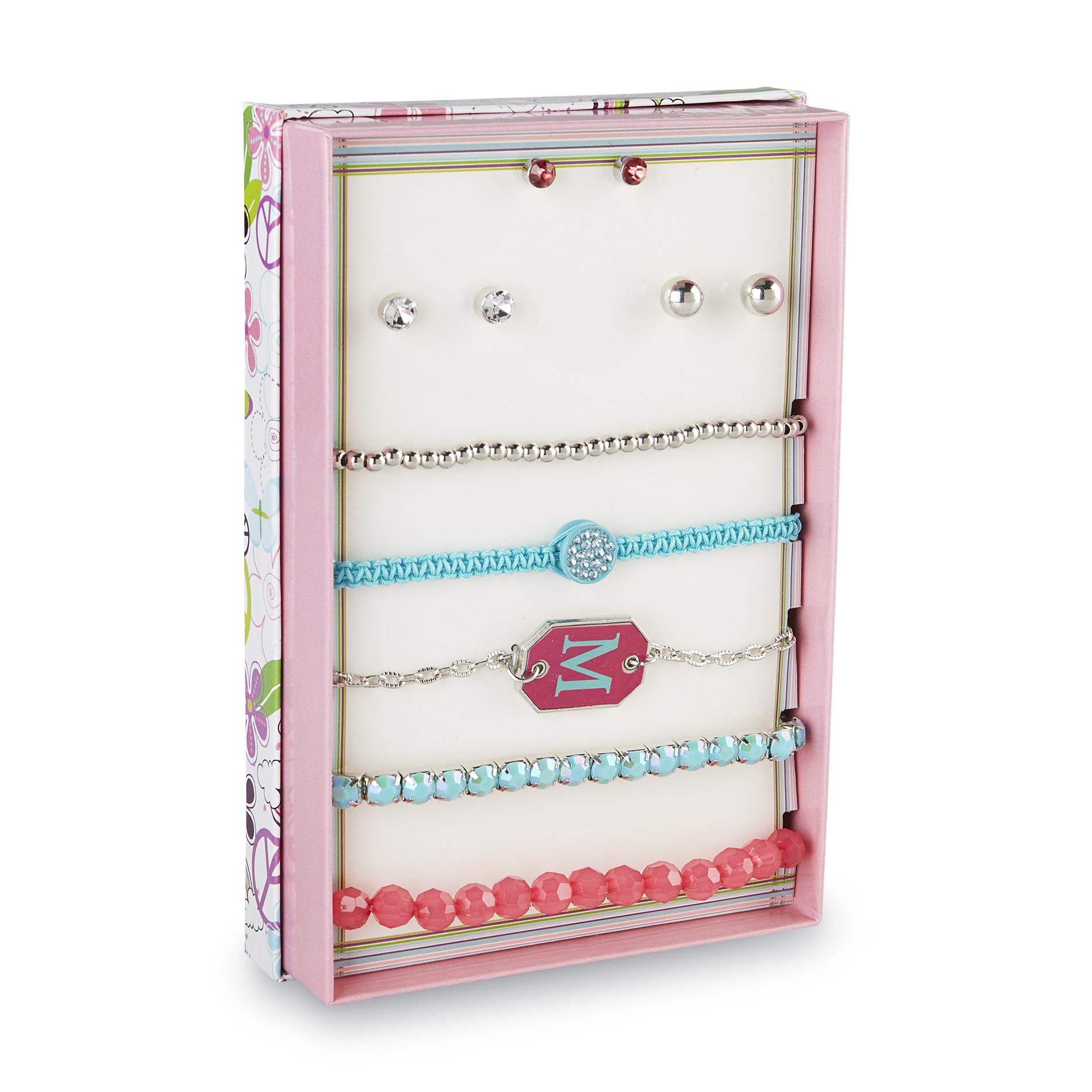 Piper Girl's 3-Pairs Silvertone stud Earrings & 5 Bracelets - M