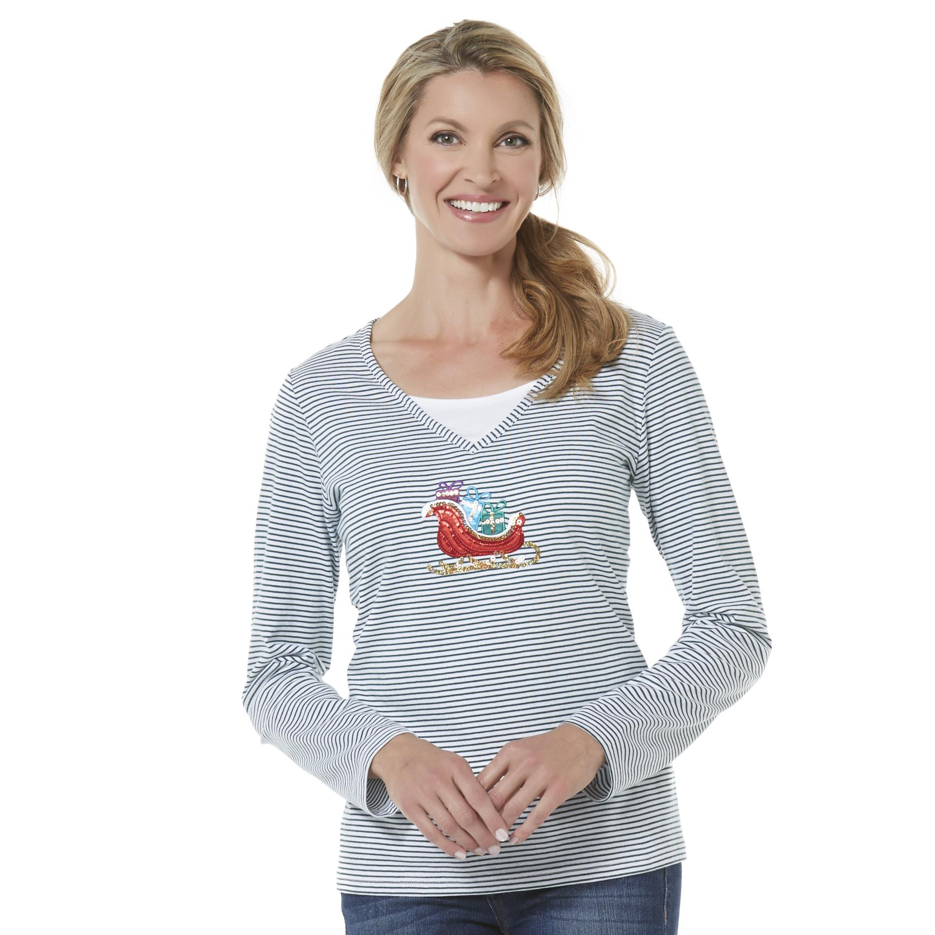 Holiday Editions Women's Embellished T-Shirt - Santa's Sleigh