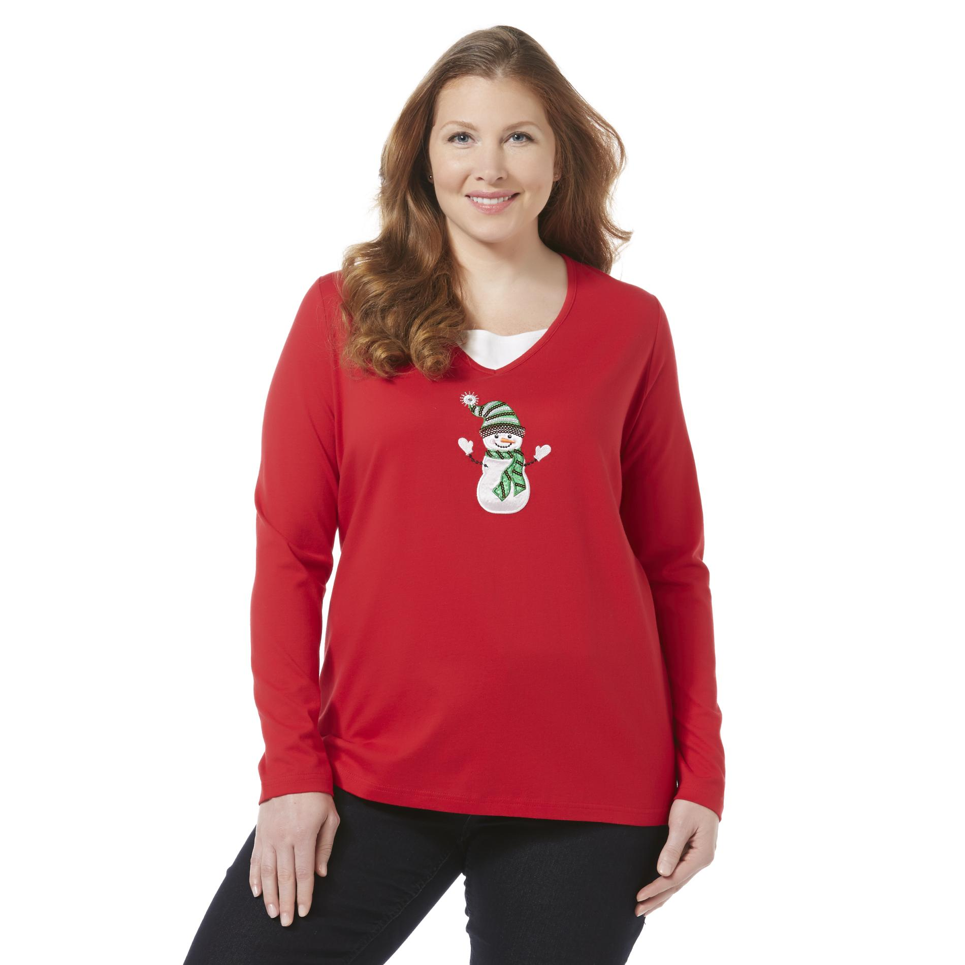 Holiday Editions Women's Plus Embellished T-Shirt - Snowman