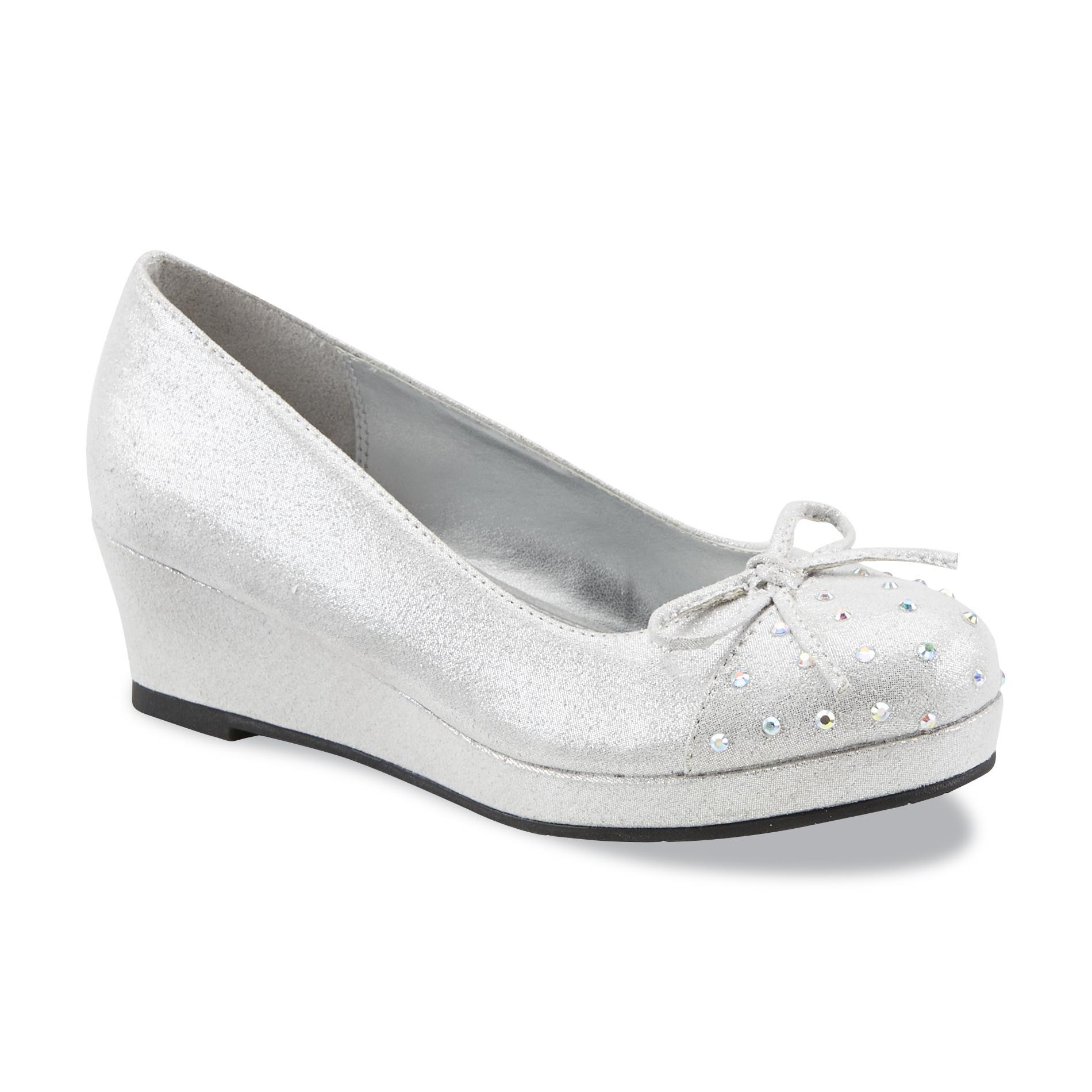 Mia Girl's Myra Silver Wedge Shoe