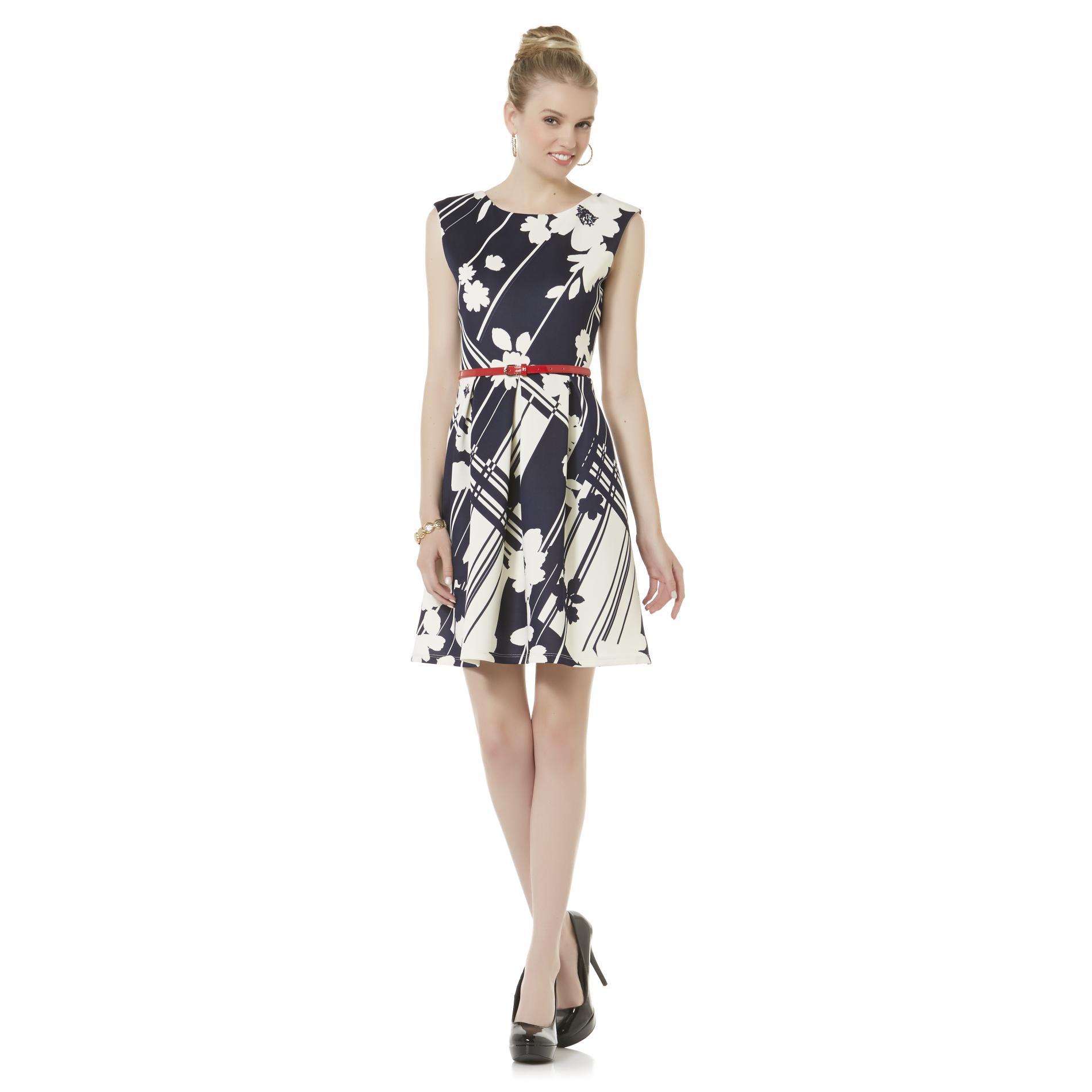 Covington Women's Sleeveless Dress & Belt - Floral Print