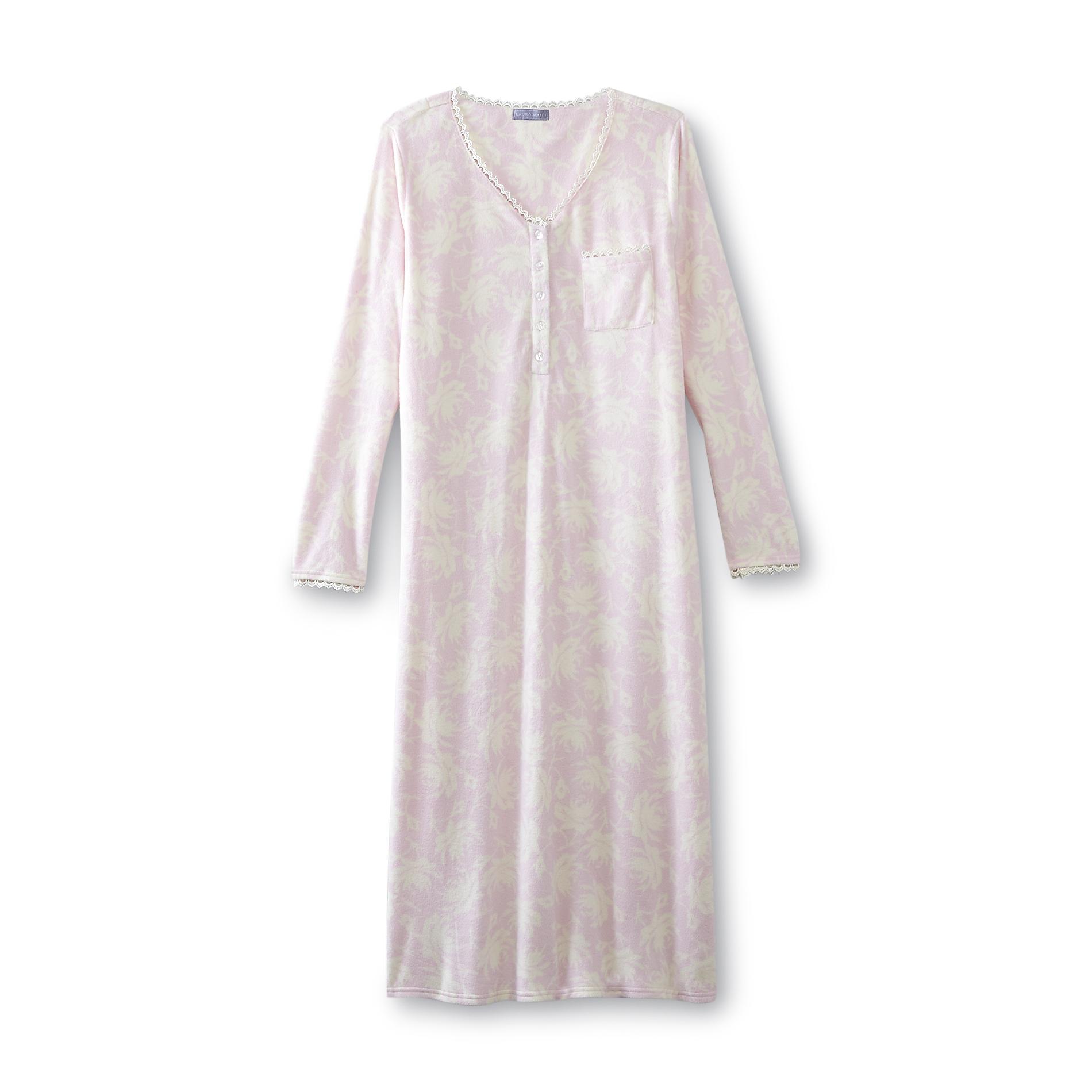 Women's Fleece Nightgown - Floral