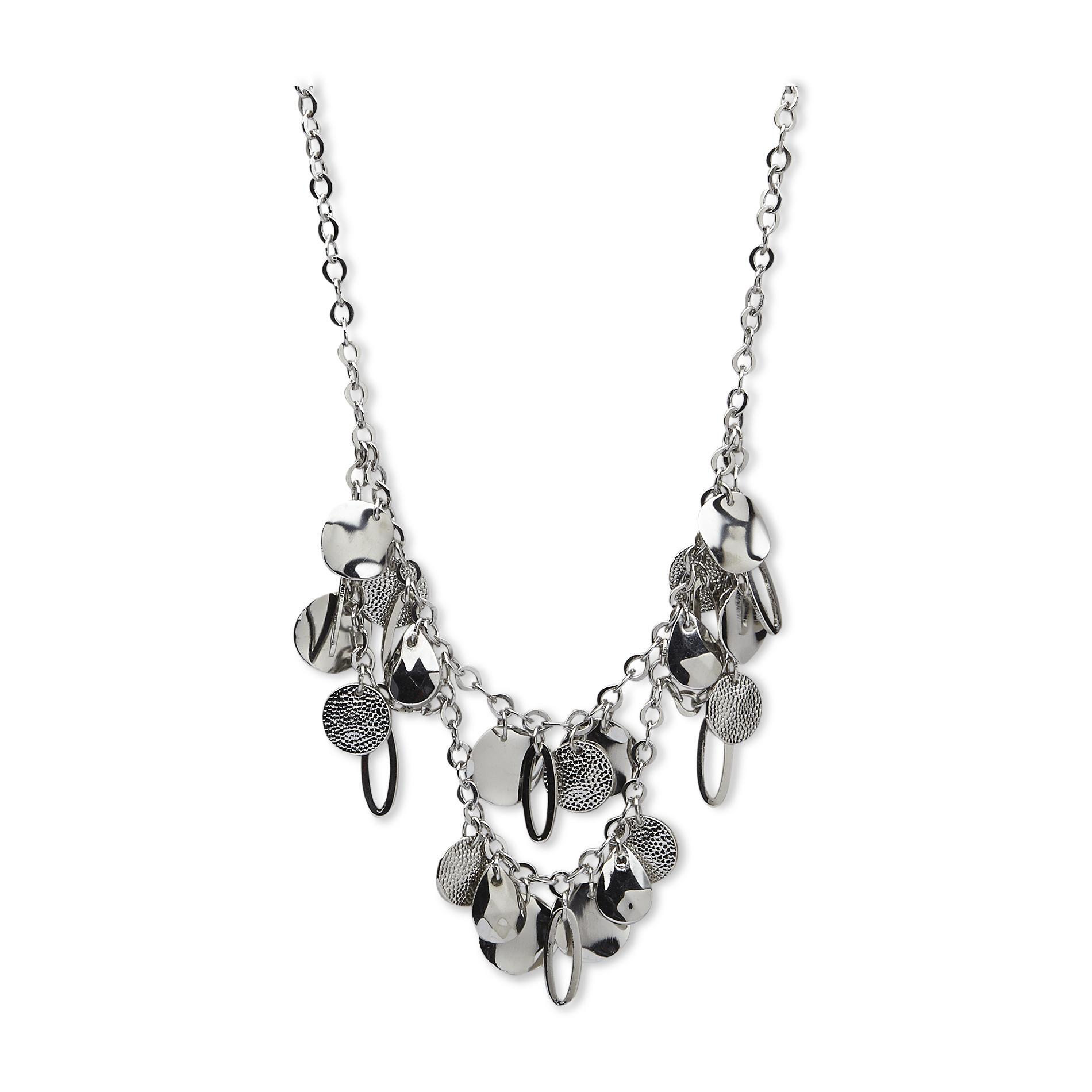 Jaclyn Smith Women's Silvertone Cluster Necklace