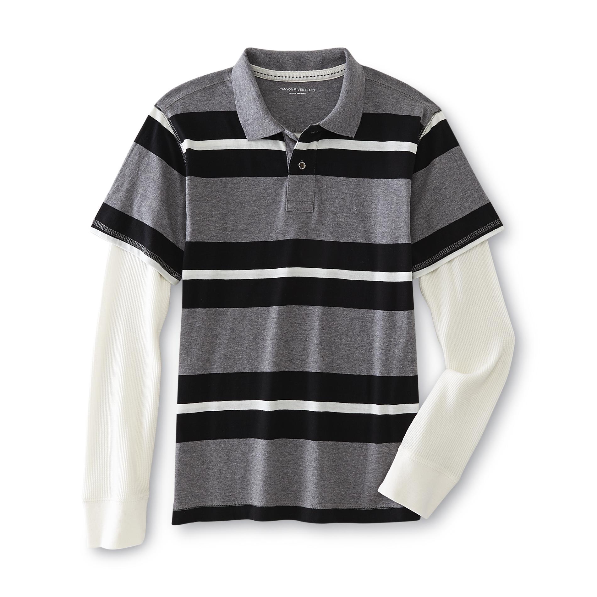 Canyon River Blues Boy's Layered-Look Polo Shirt - Striped