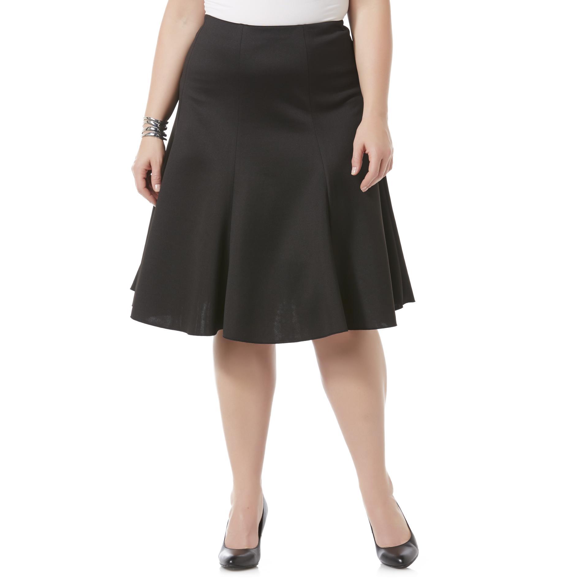 Women's Plus Gored Scuba Knit Skirt
