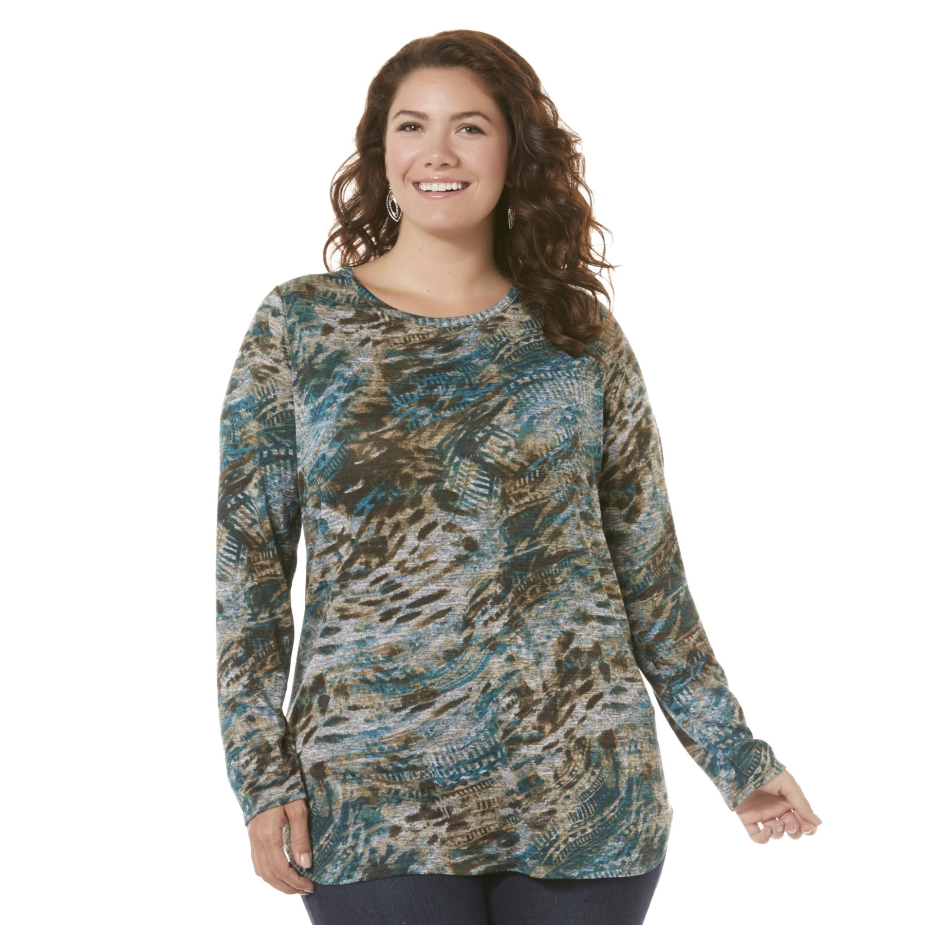 Basic Editions Women's Plus Graphic Top - Abstract