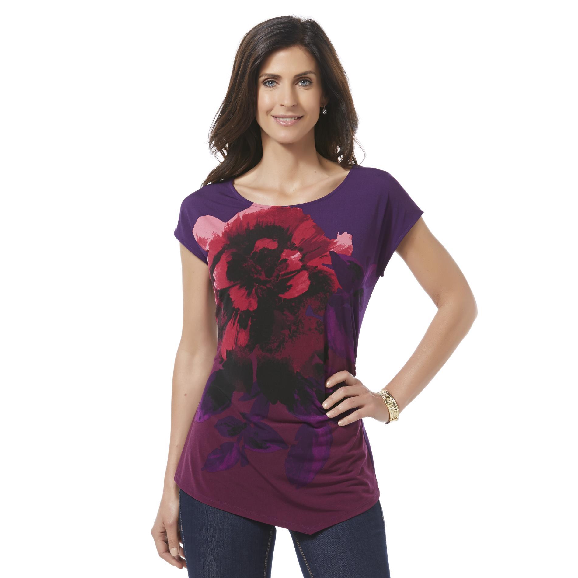 Women's Asymmetrical Top - Floral