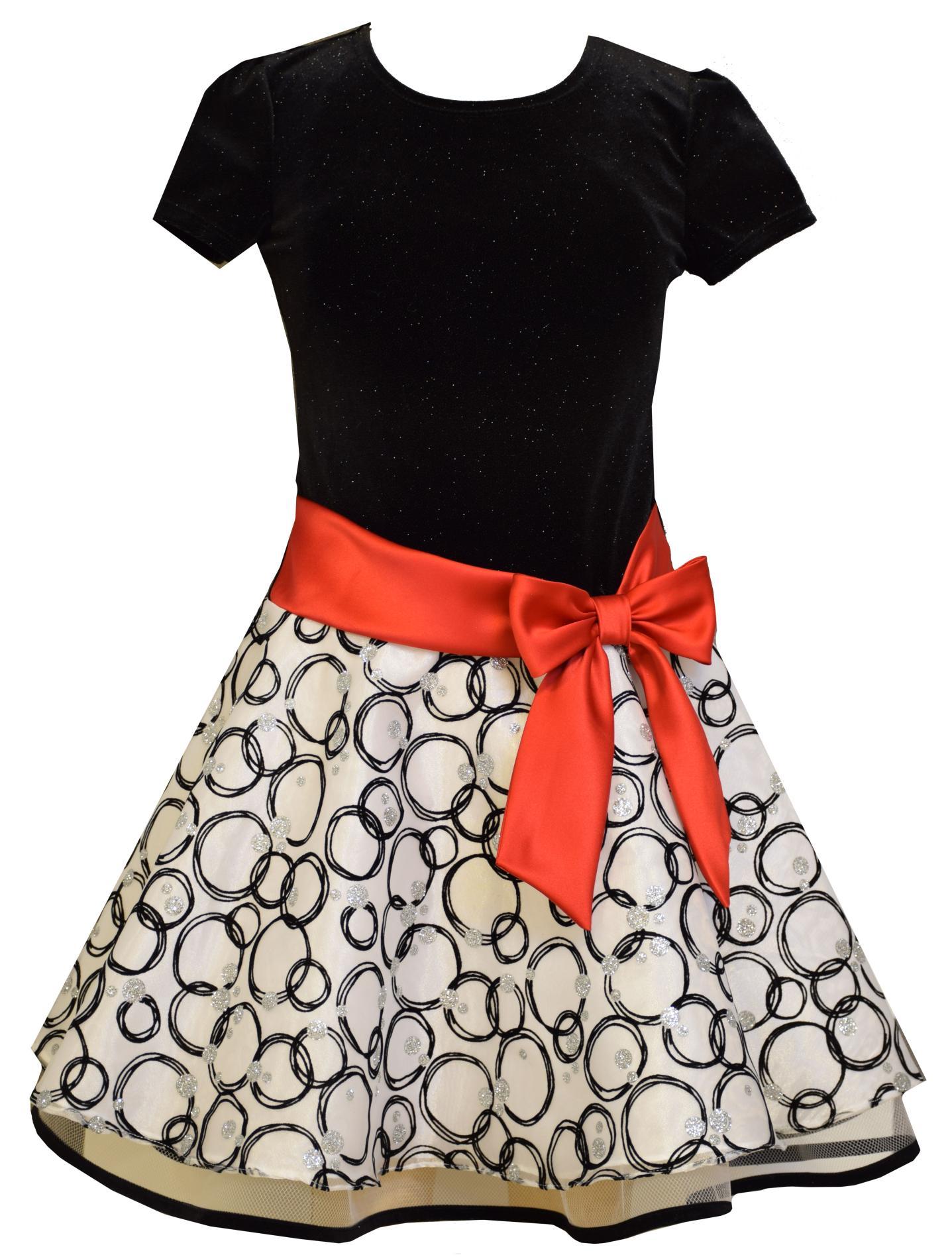 Ashley Ann Girl's Velvet & Chiffon Full-Skirt Party Dress