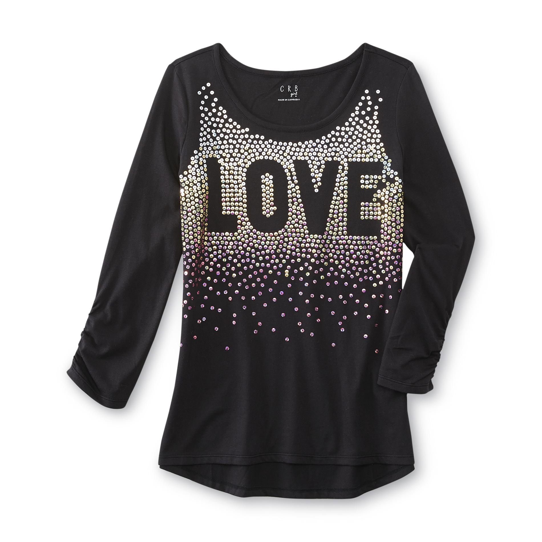 CRB Girl Girl's Long-Sleeve Sequin Shirt - Love
