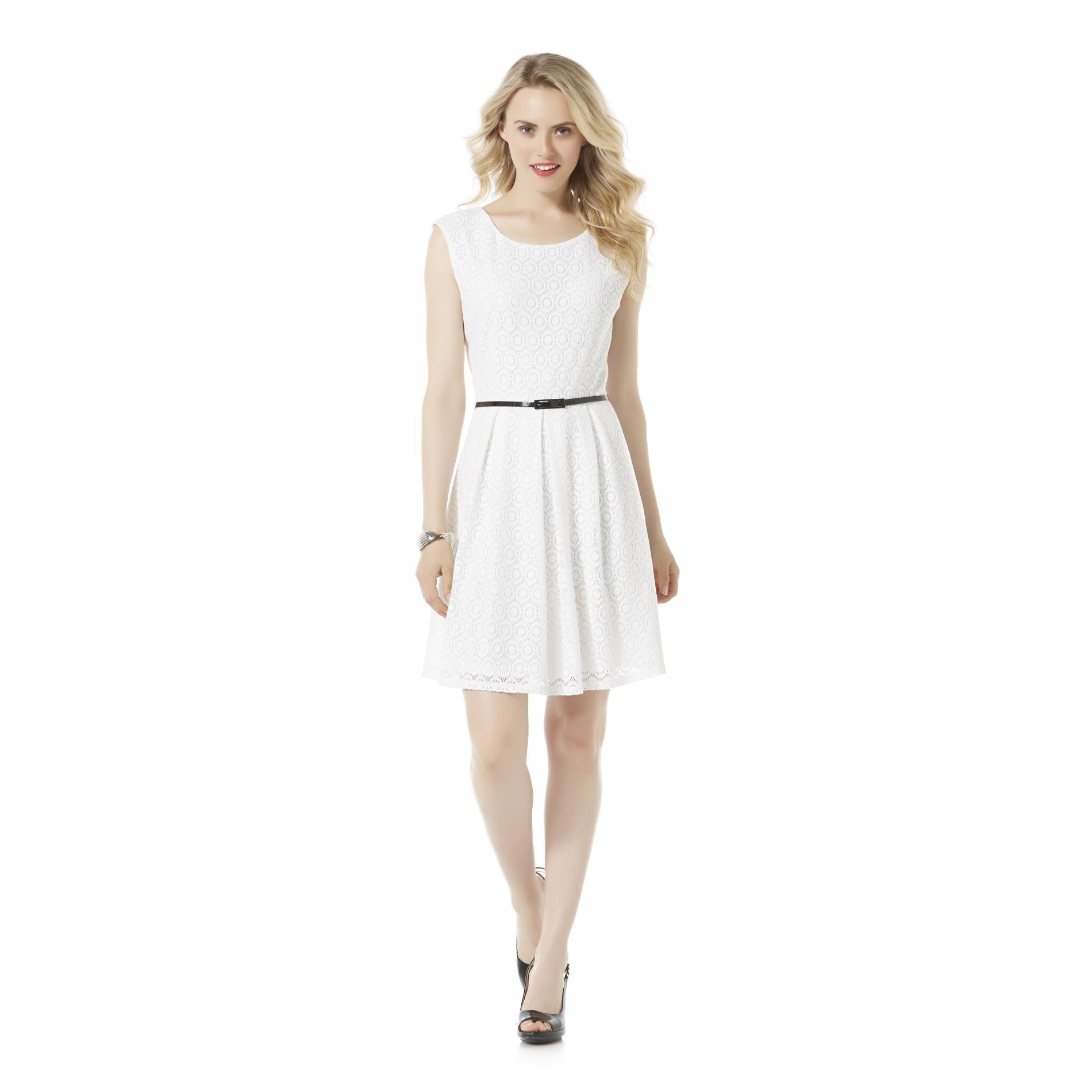 Metaphor Women's Sleeveless Lace Fit & Flare Dress & Belt