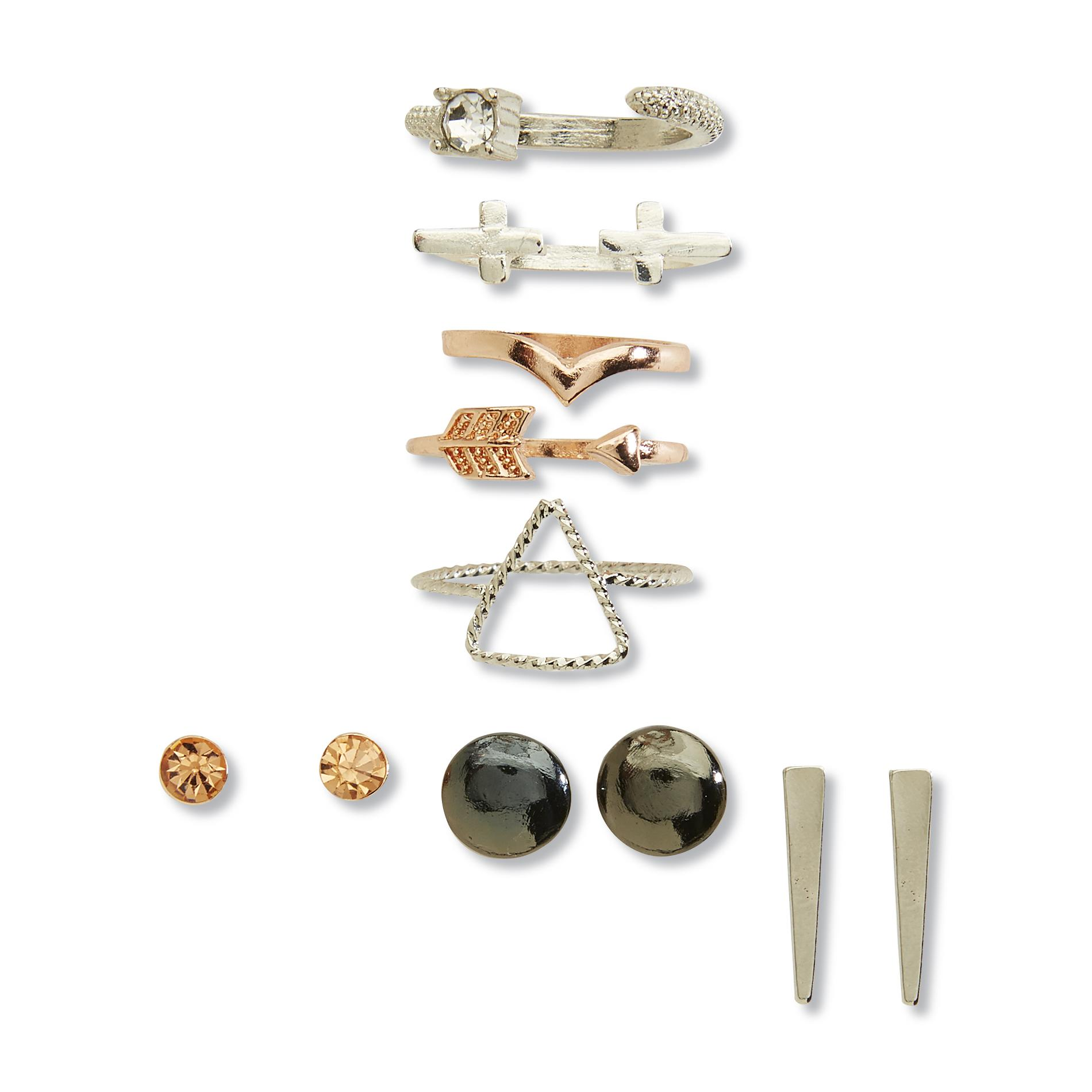Joe Boxer Women's Mixed Metal 3-Pairs Stud Earrings & 5 Rings