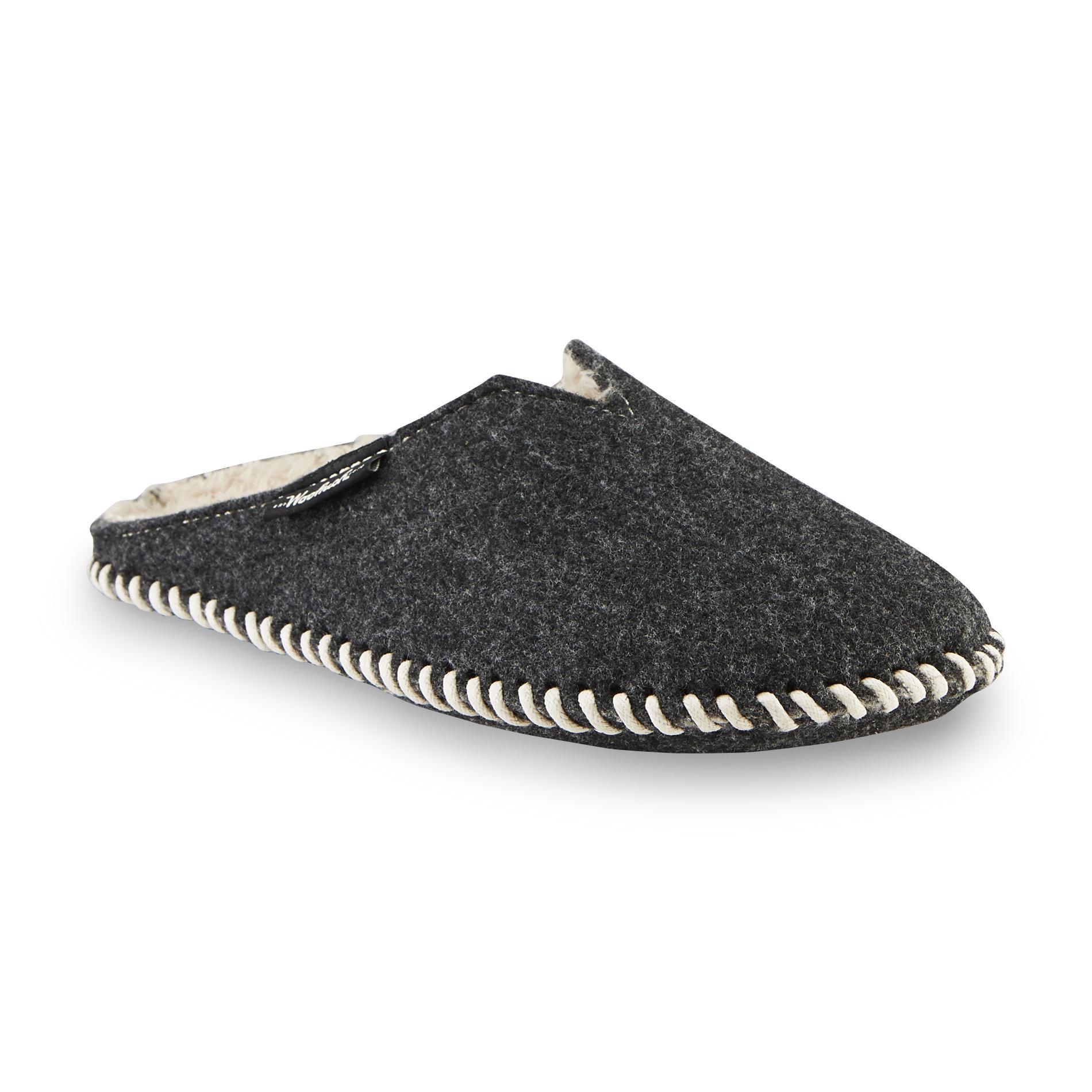 Woolrich Women's Felt Mill Charcoal Scuff Slipper with Faux Fur