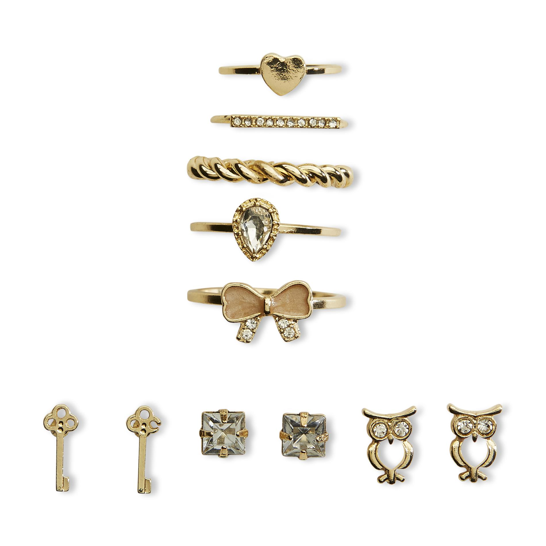Joe Boxer Women's Goldtone 3-Pairs Stud Earrings & 5 Rings