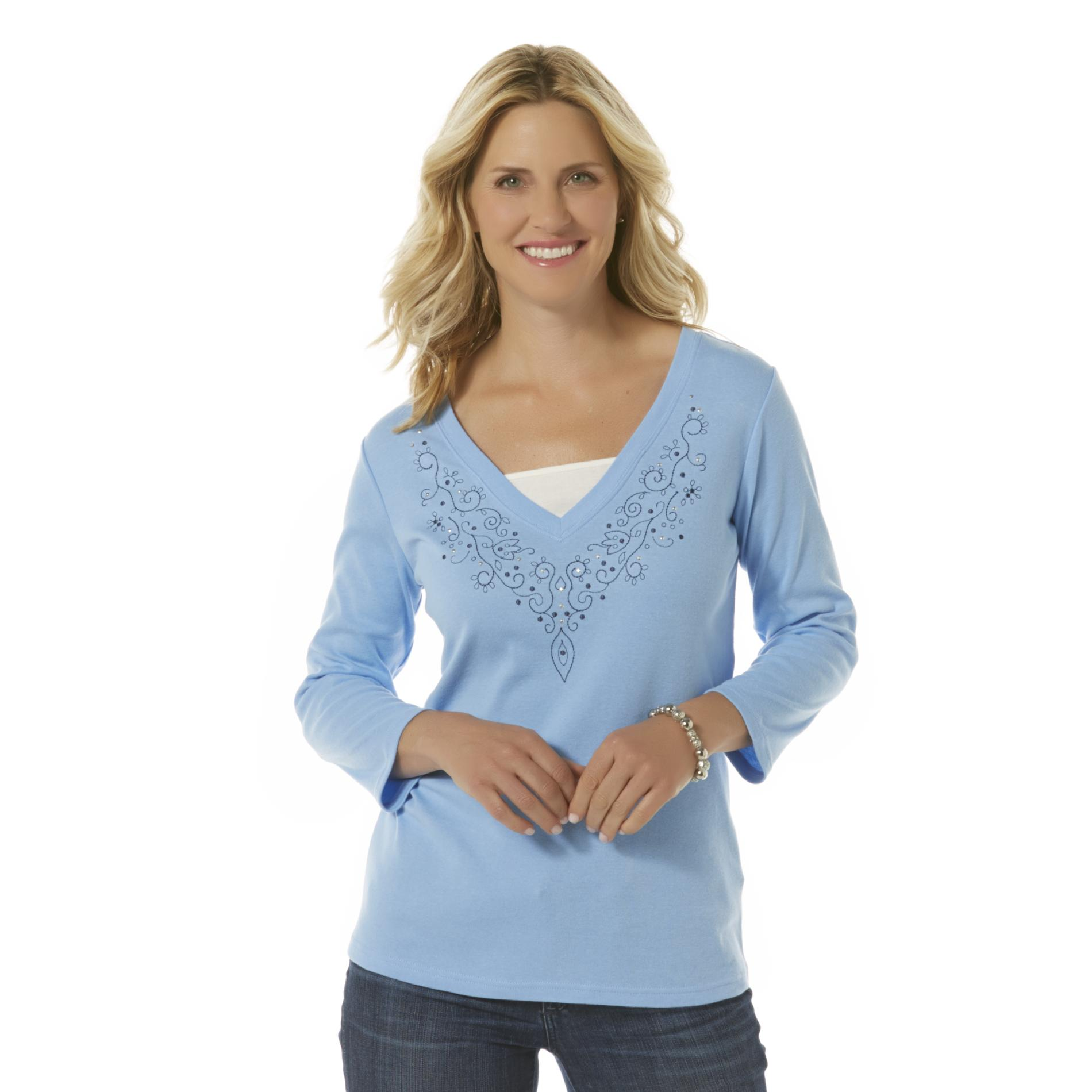 Women's Layered-Look Embellished Top