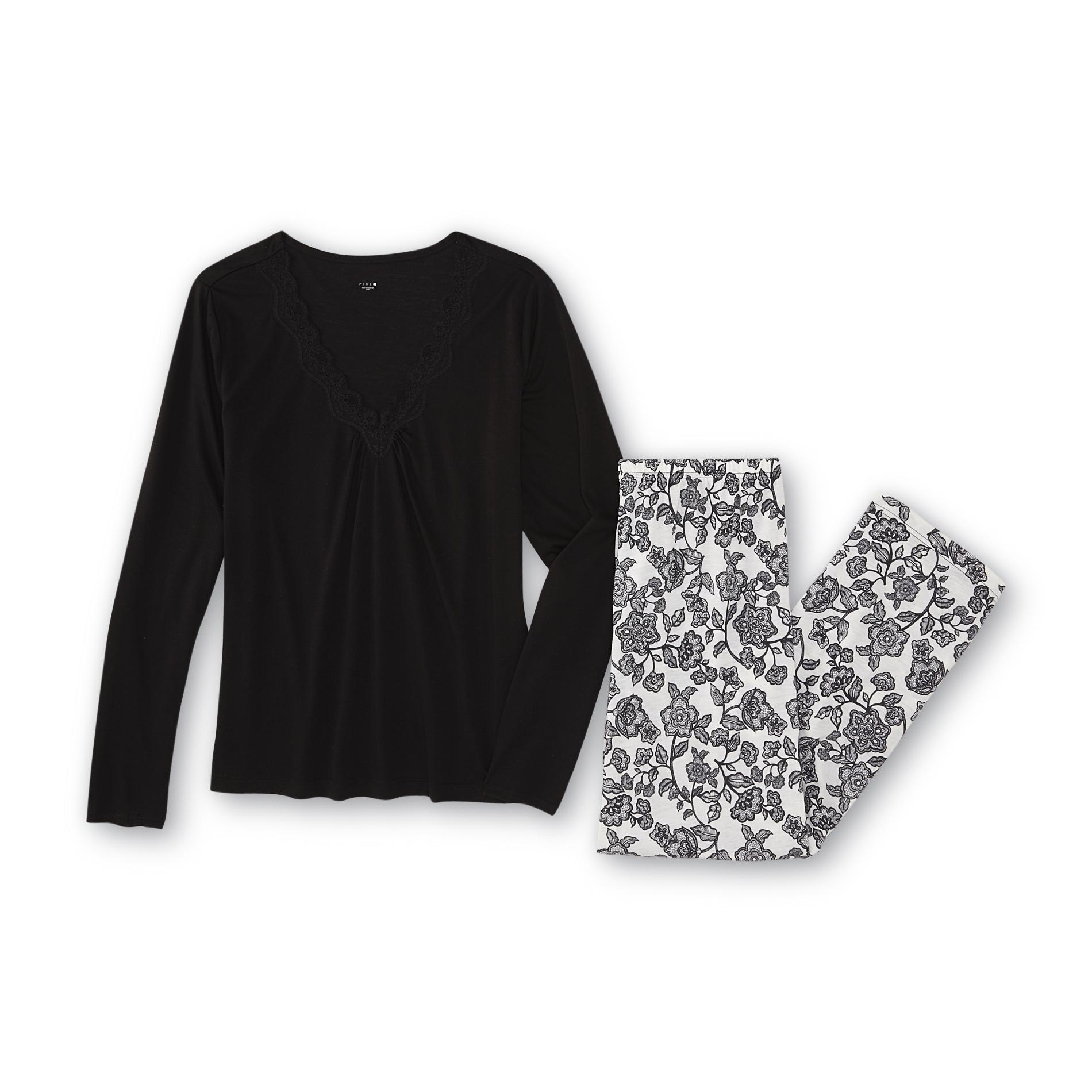 Pink K Women's Pajama Top & Pants - Floral Print