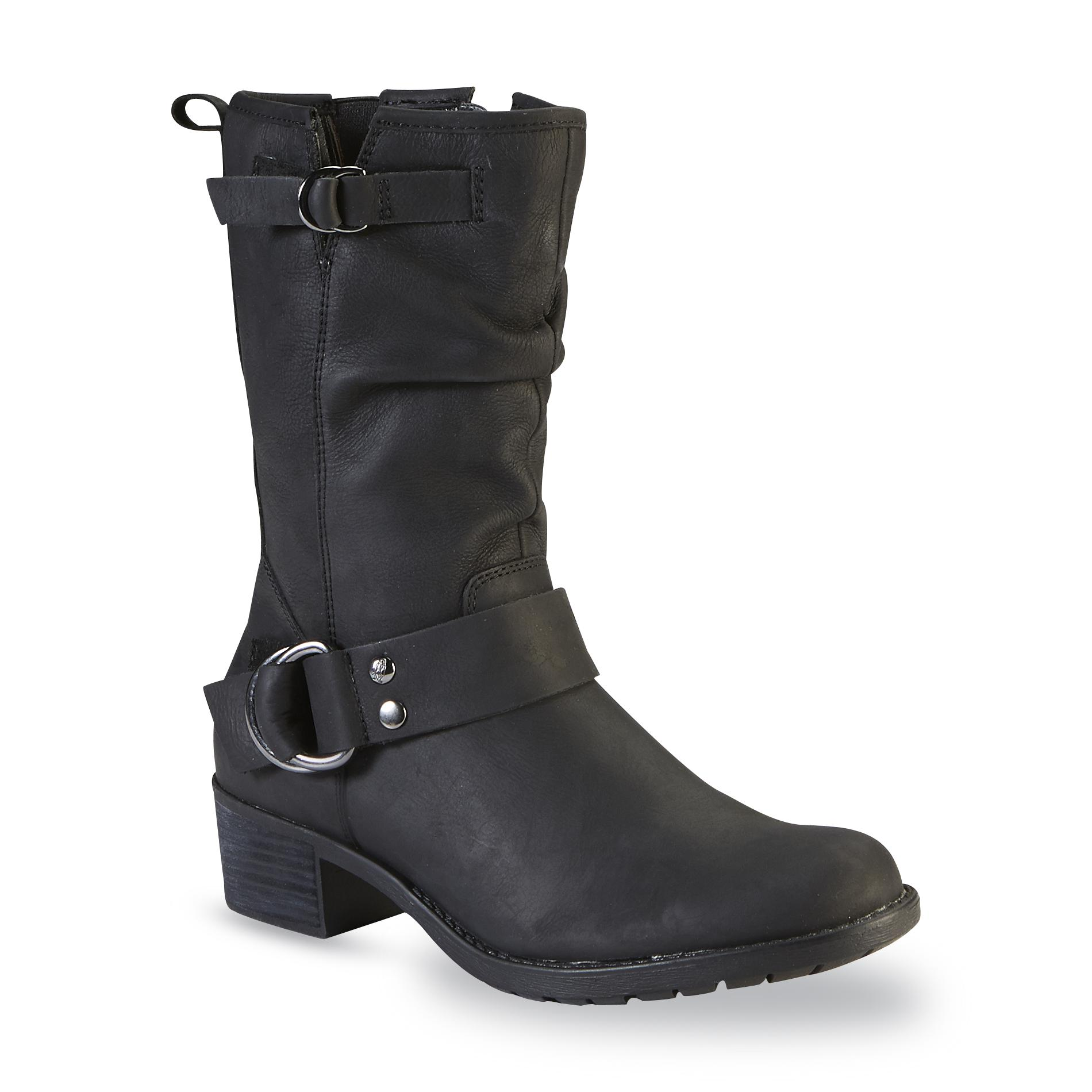 Hush Puppies Women S Emelee Overton Black Leather Mid Calf