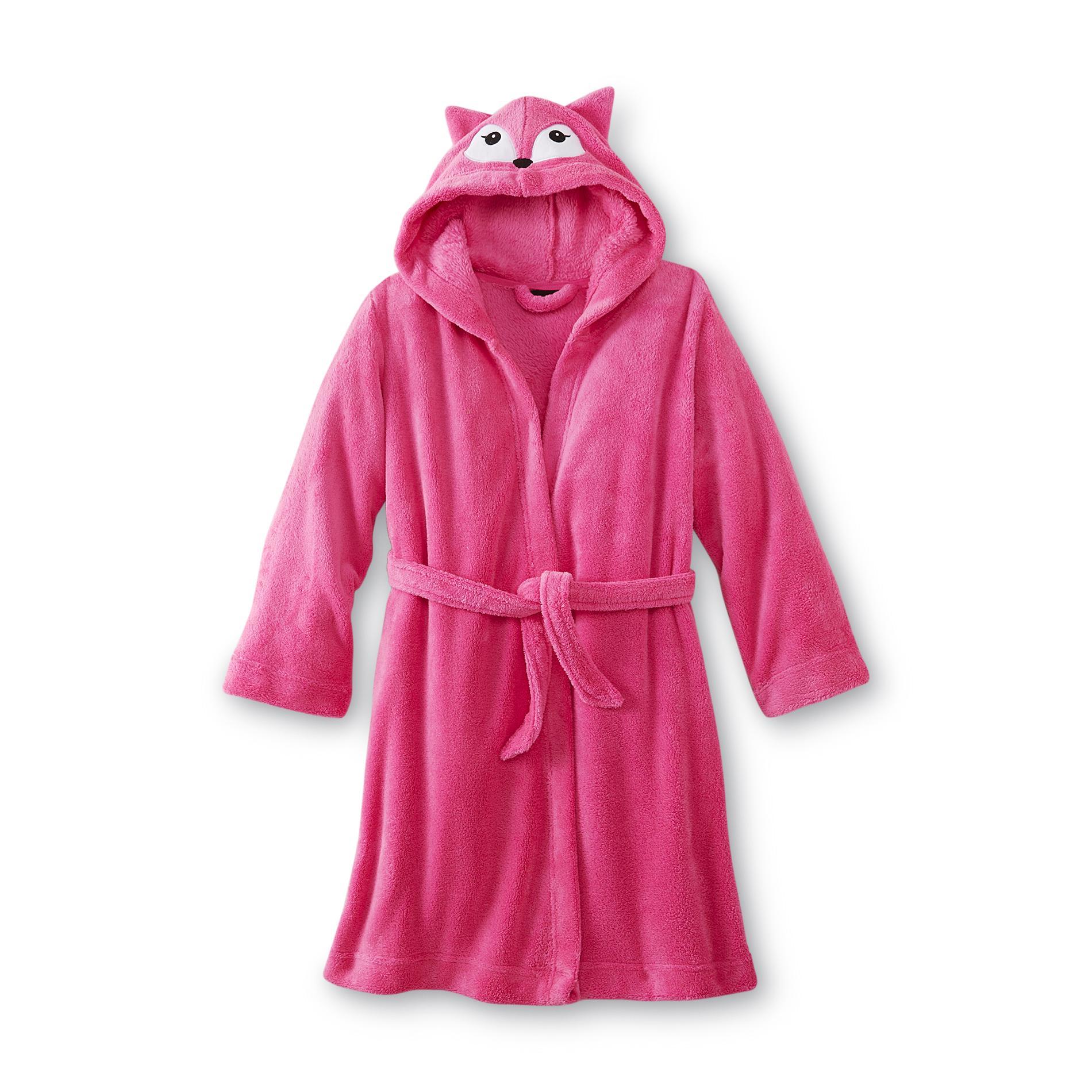 Girl's Hooded Fleece Critter Robe - Fox