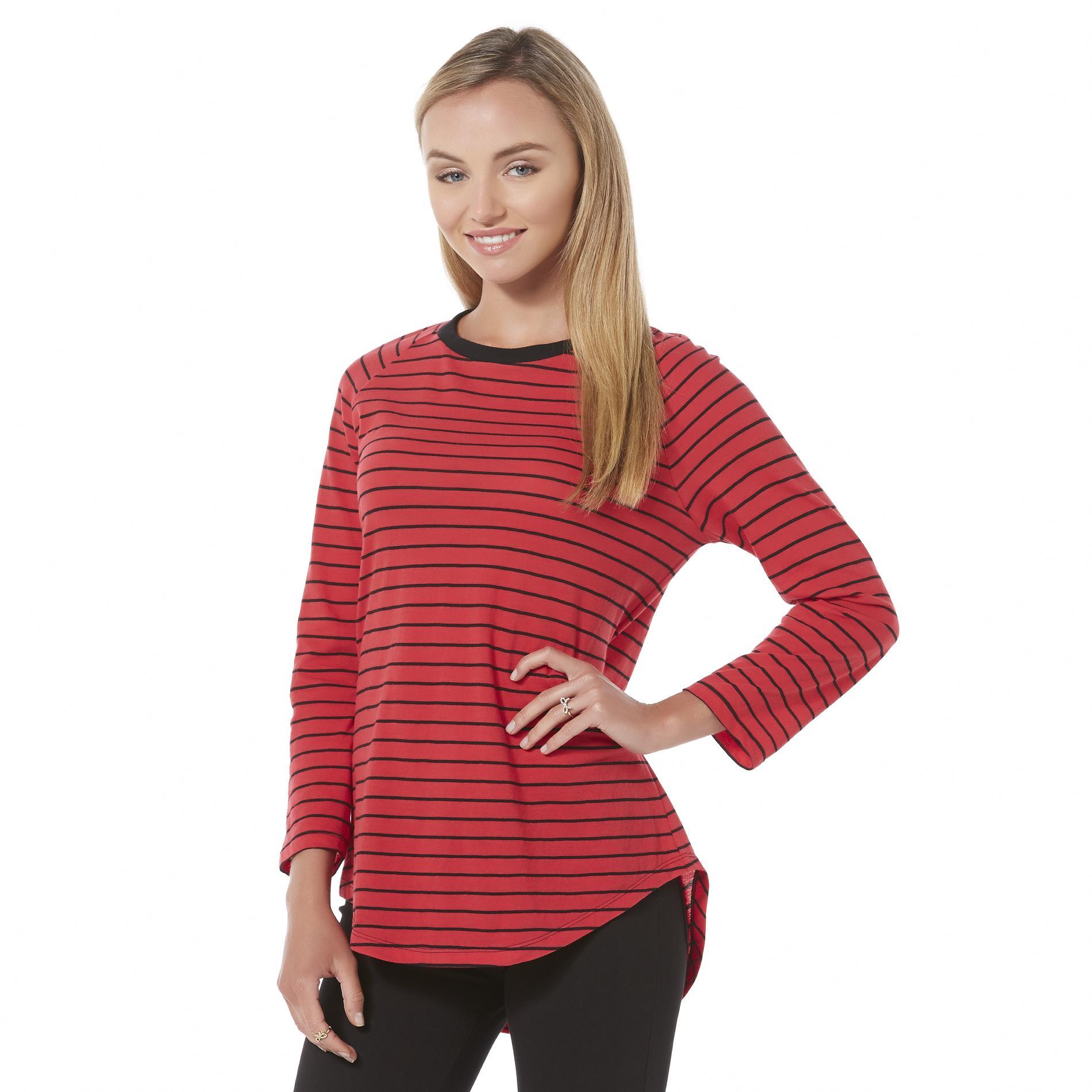 Bongo Junior's Long-Sleeve High-Low T-Shirt - Striped