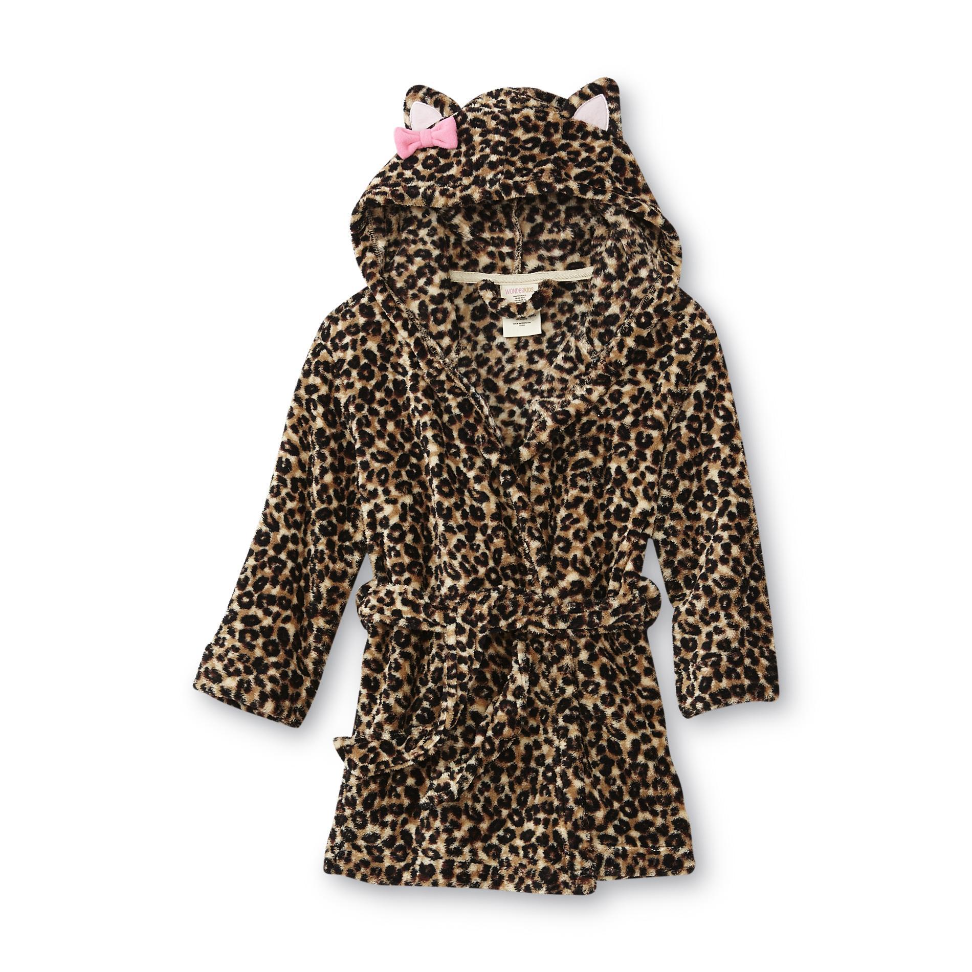WonderKids Toddler Girl's Hooded Robe - Leopard Print