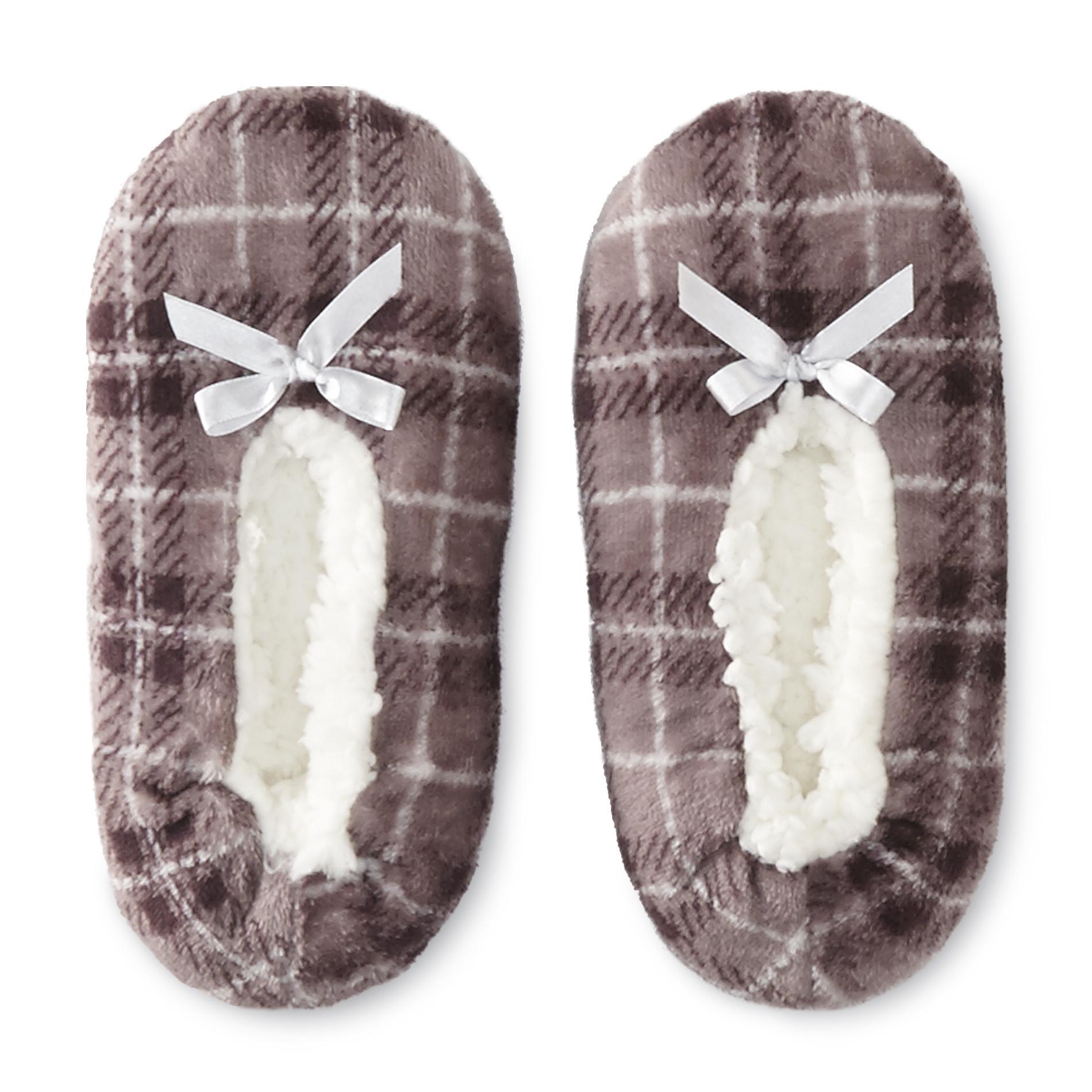 Joe Boxer Women's Plaid Fleece Slipper Socks