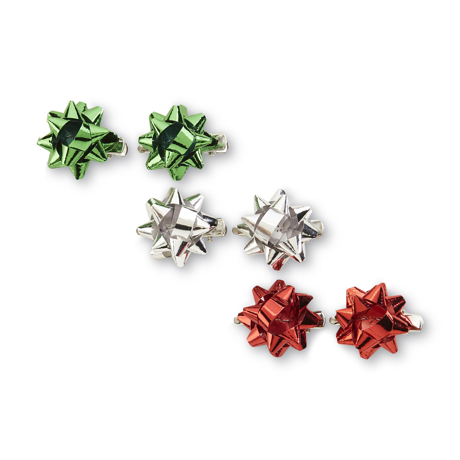 Holiday Editions Women's 3-Pair Pack Christmas Bow Hair Clips