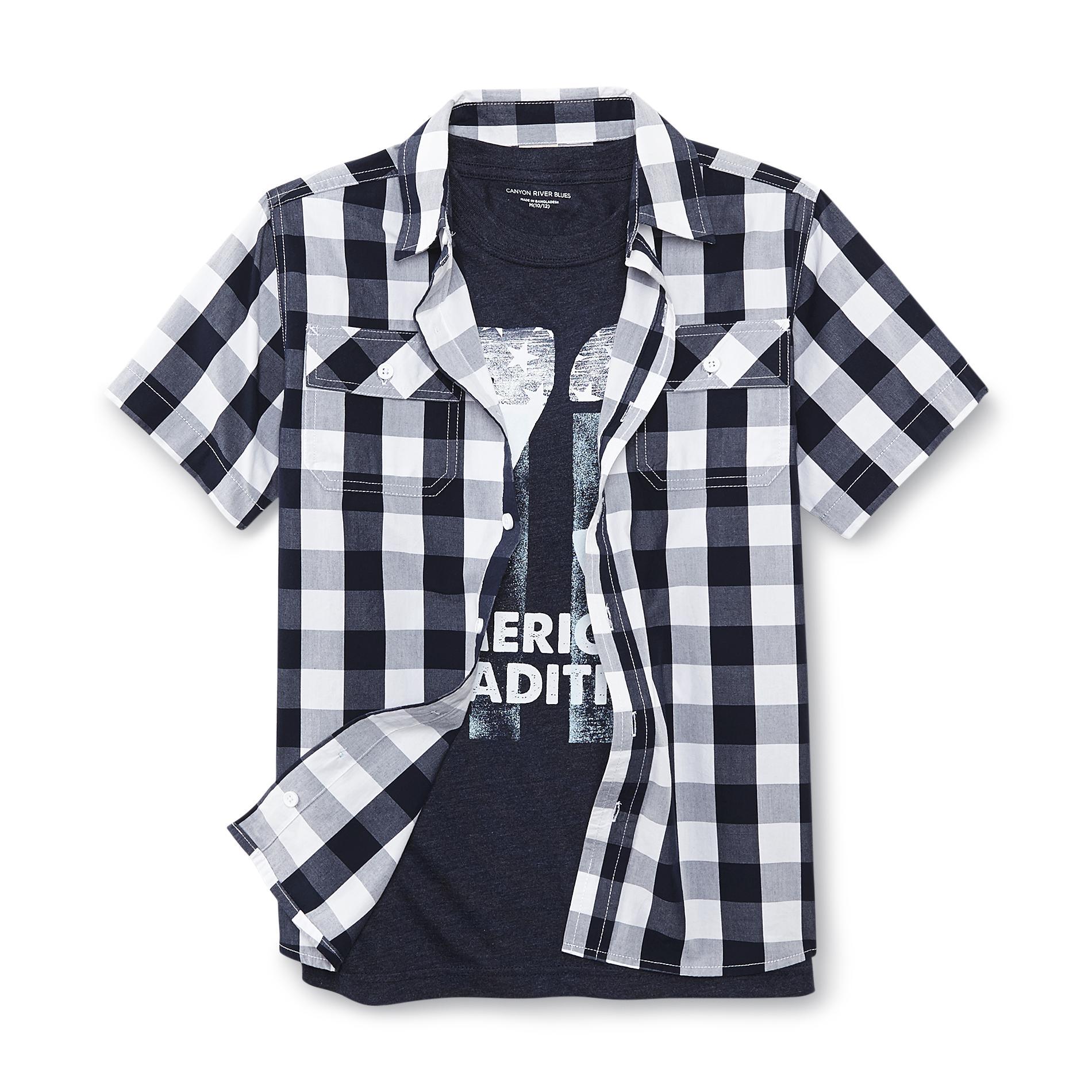 Boy's Button-Front Shirt & T-Shirt - Plaid