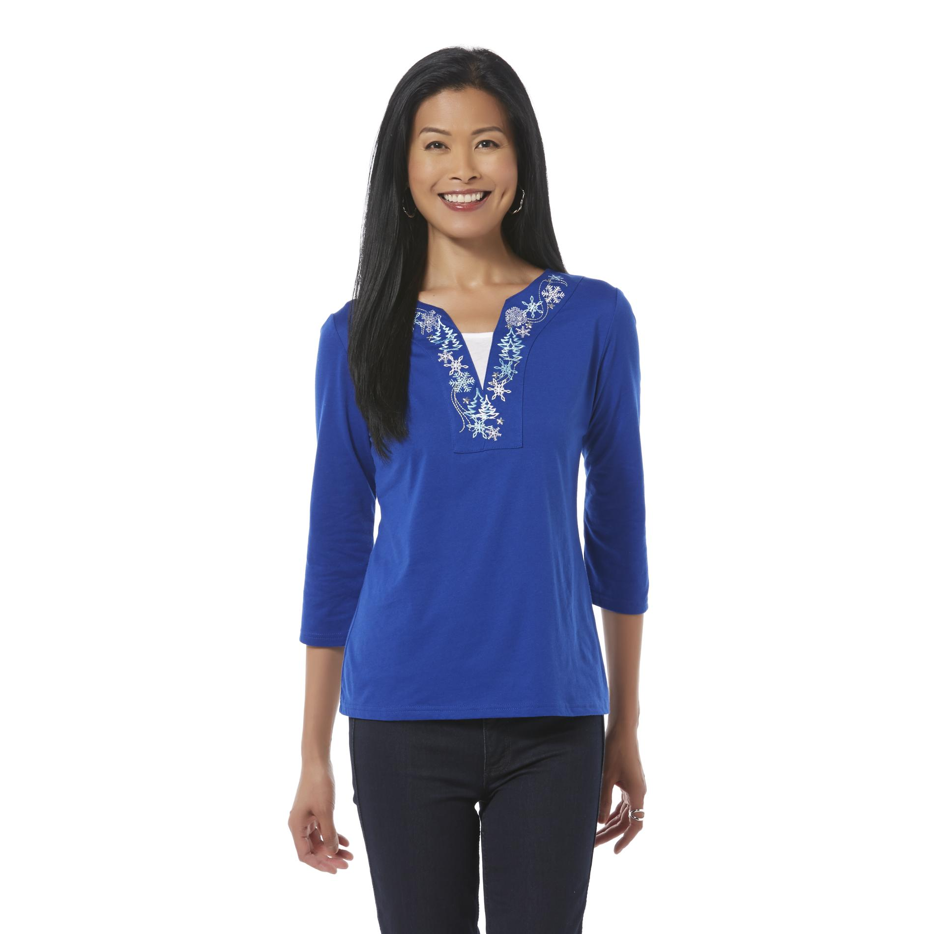 Holiday Editions Women's Embellished T-Shirt - Snowflake