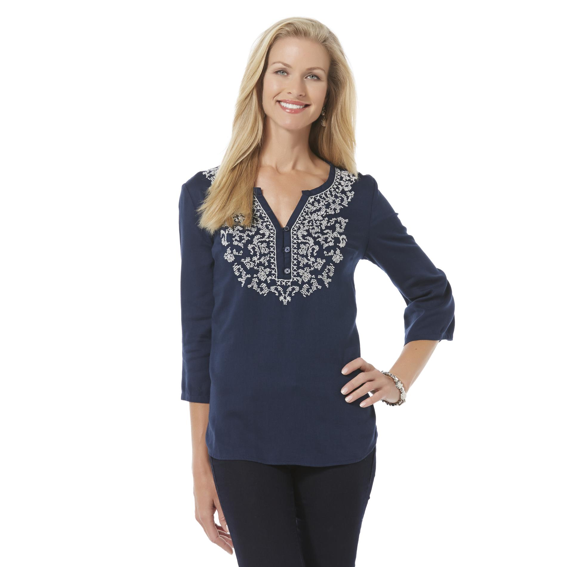 Basic Editions Women's Embroidered Henley Top