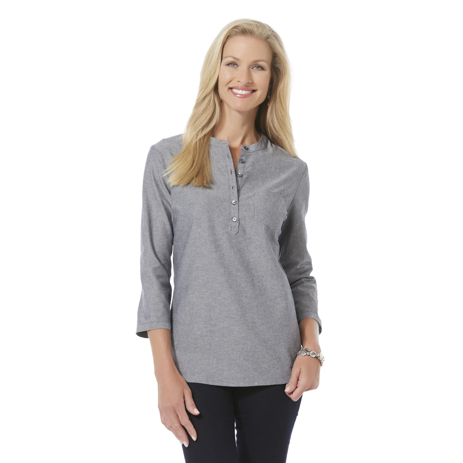 Made in India from % Organic Cotton, this woven, textured chambray cowl tunic is sophisticated and comfortable. It features pockets and goes perfectly with your favorite leggings or .