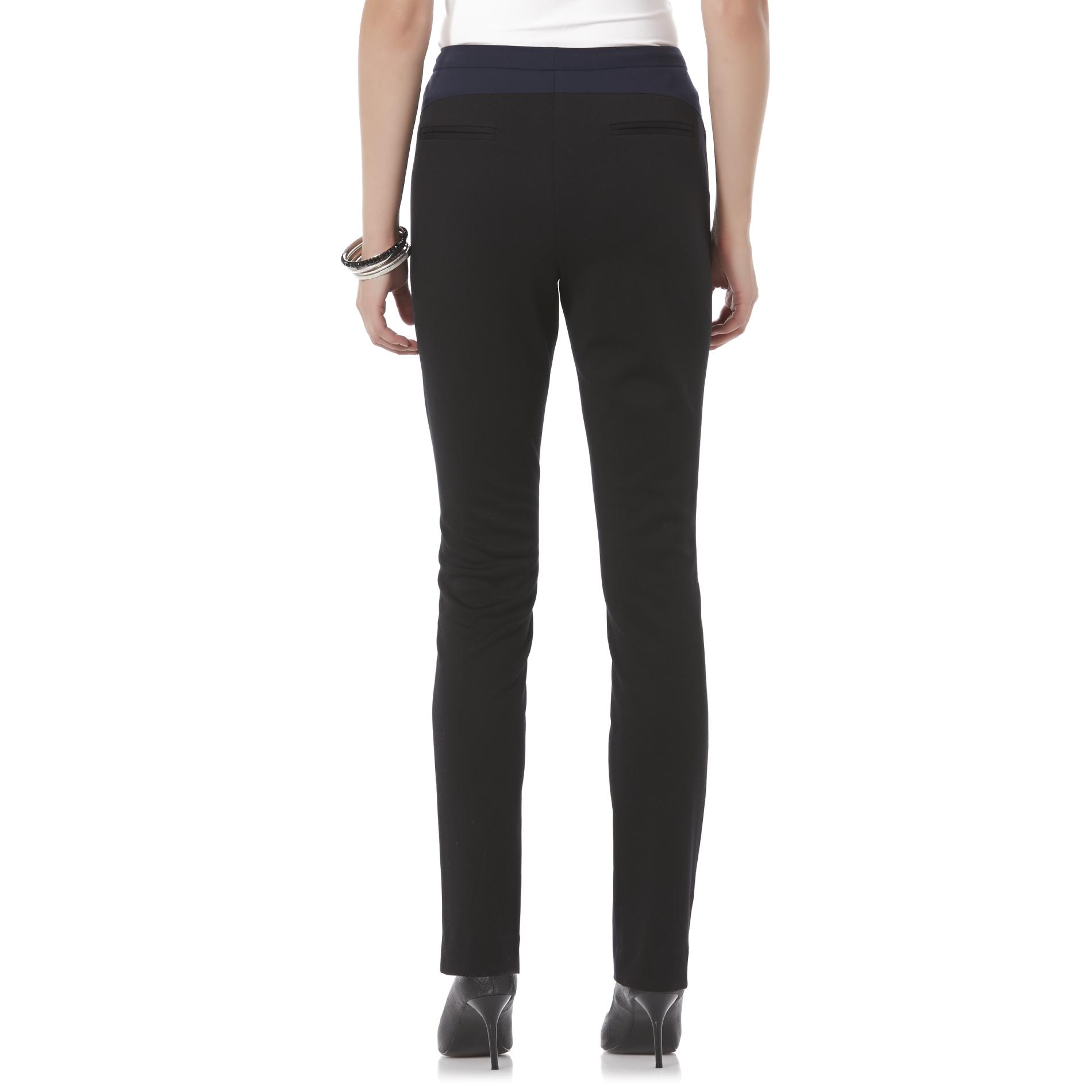 Metaphor Women's Flat Front Knit Pants - Colorblock