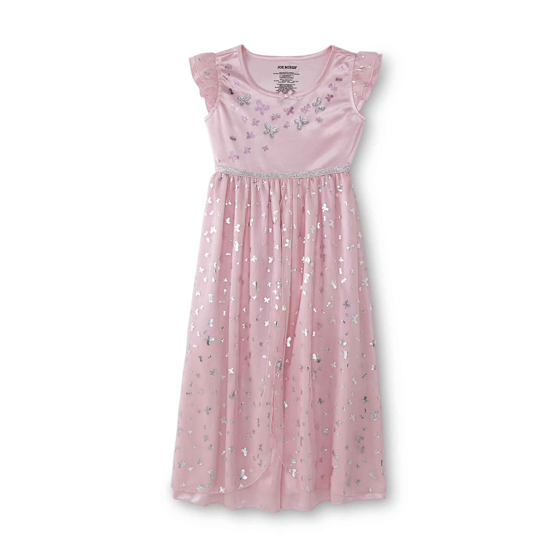 Joe Boxer Girl's Princess Glittery Nightgown - Butterflies