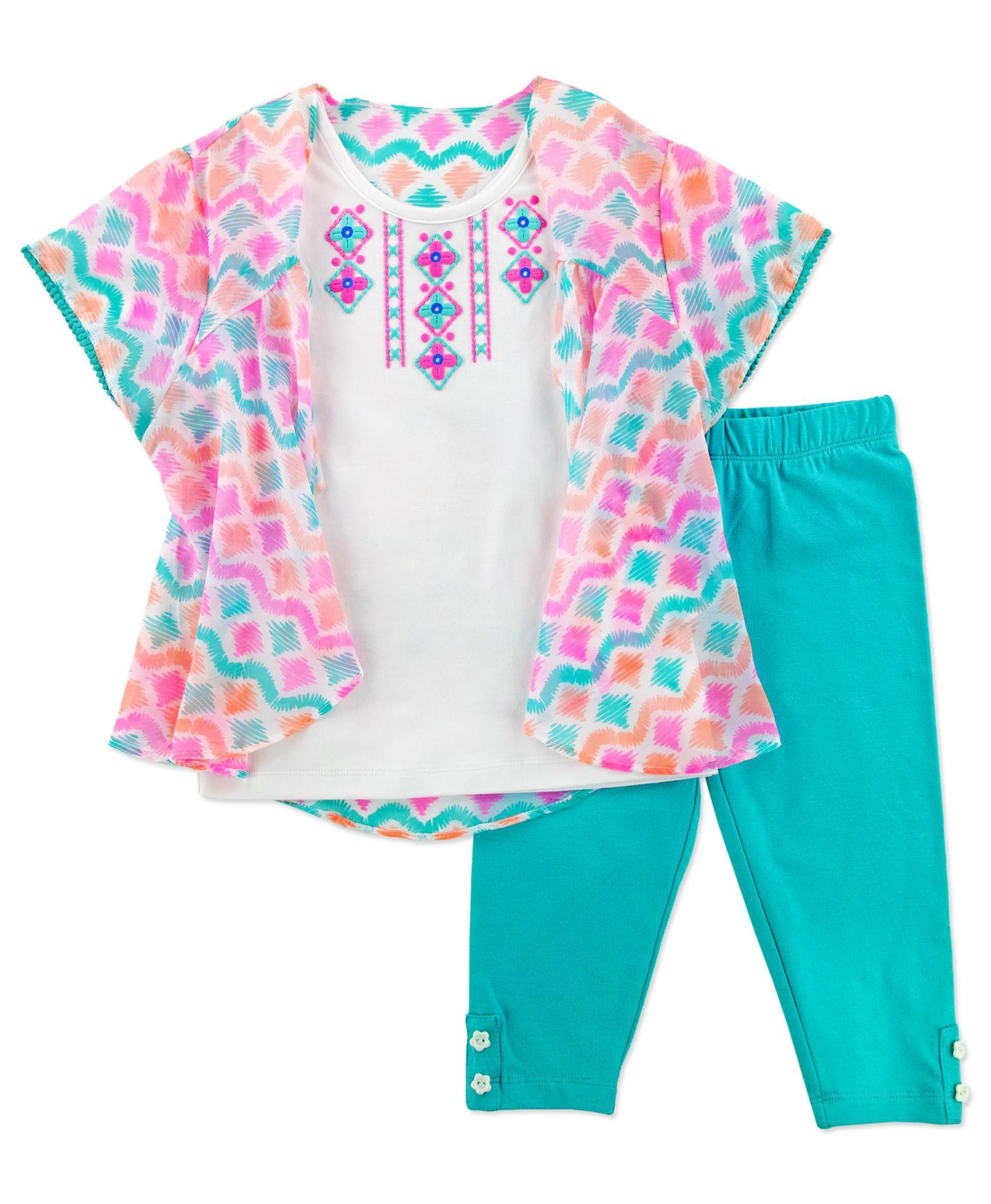 Young Hearts Girl's Layered-Look Top & Leggings - Geometric