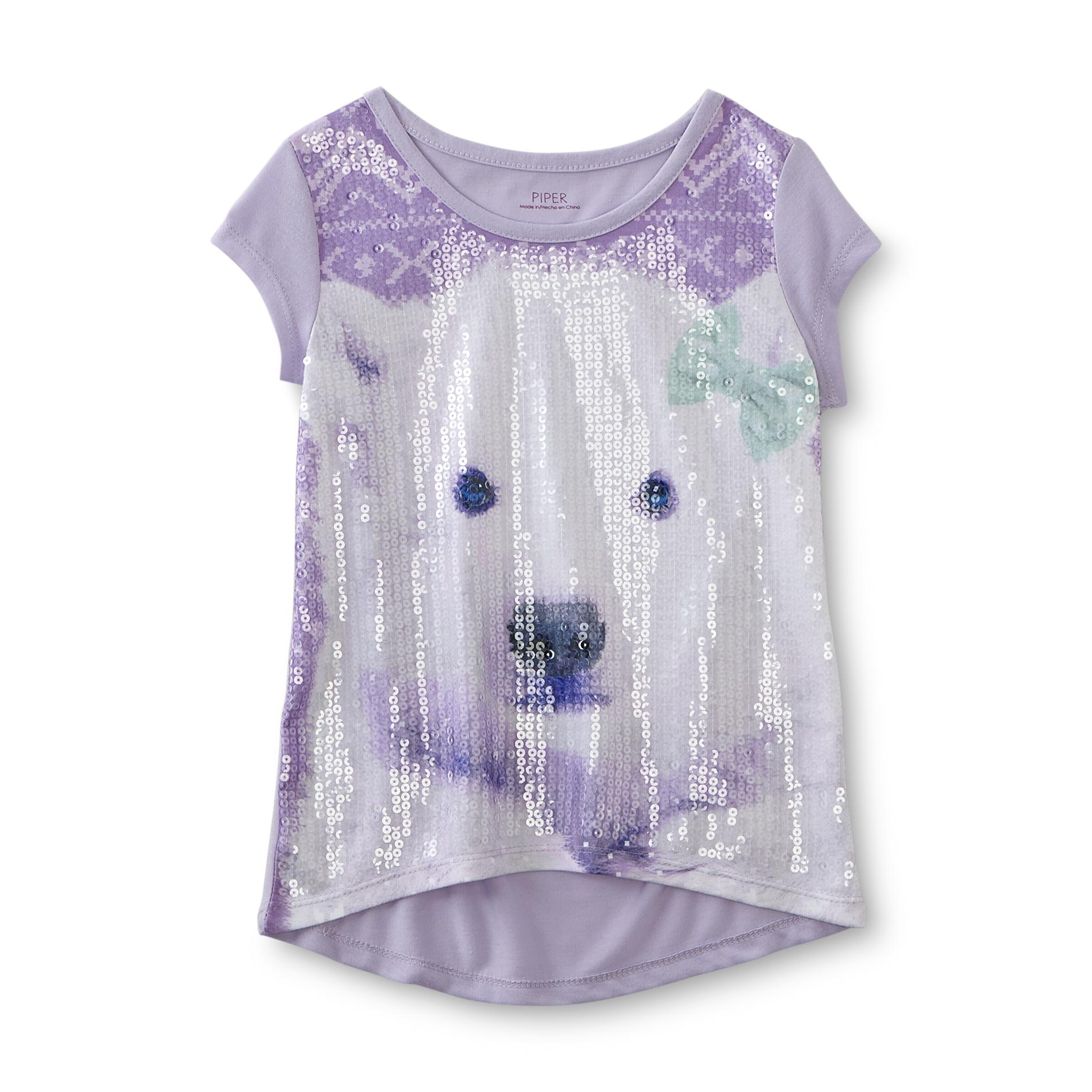 Piper Girl's Sequined Graphic T-Shirt - Polar Bear