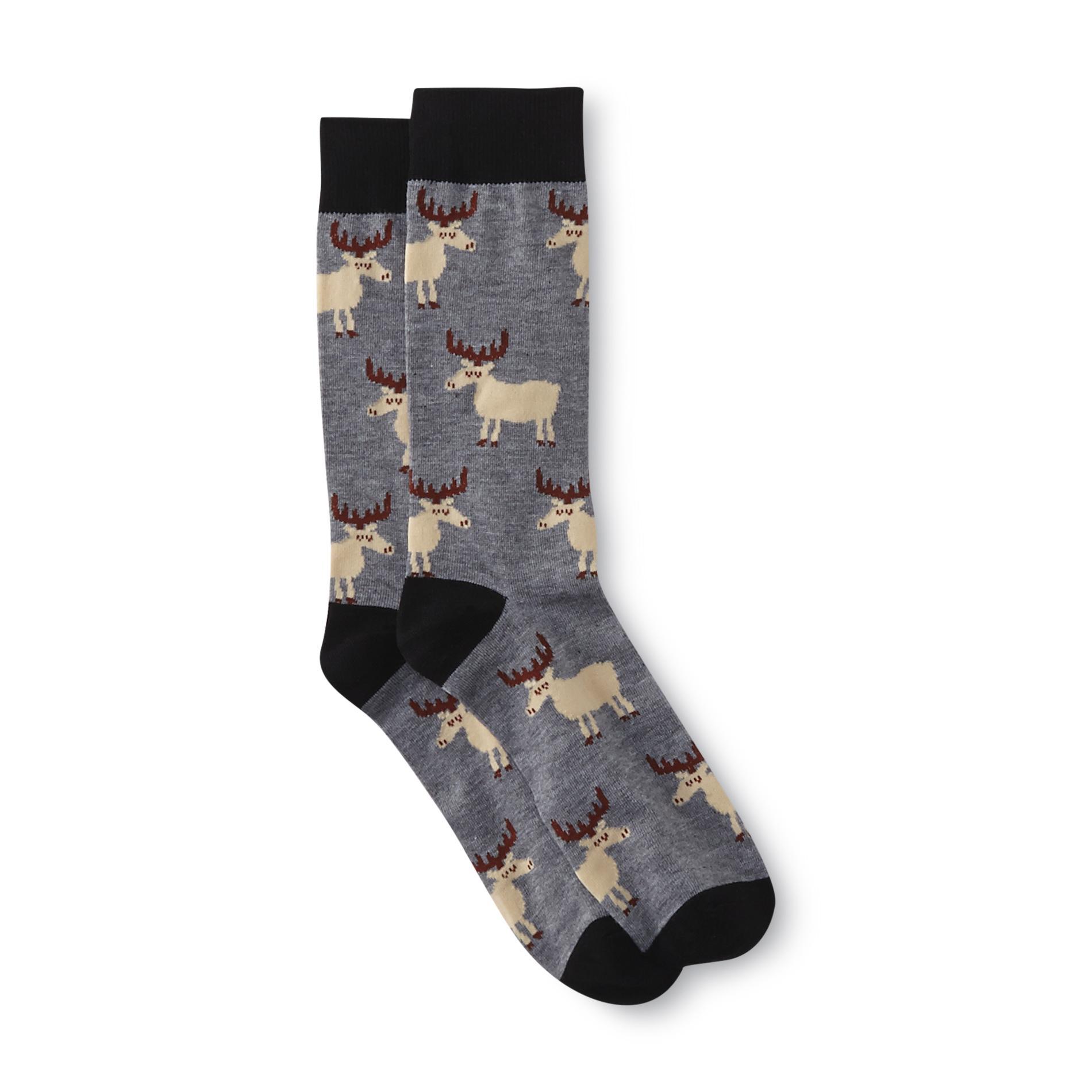 Joe Boxer Men's Christmas Crew Socks - Moose