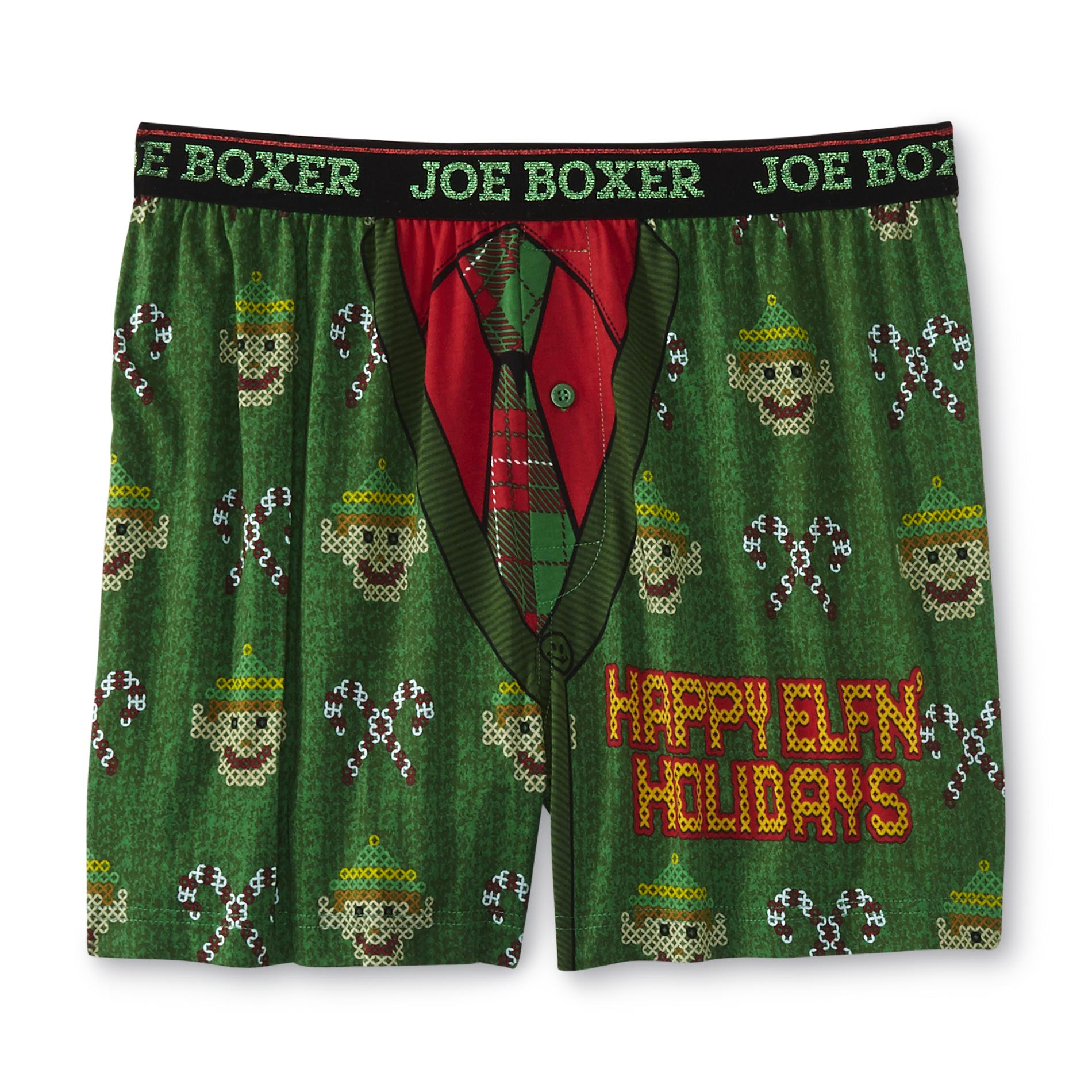 Christmas Men's Boxer Shorts - Elf Ugly Sweater