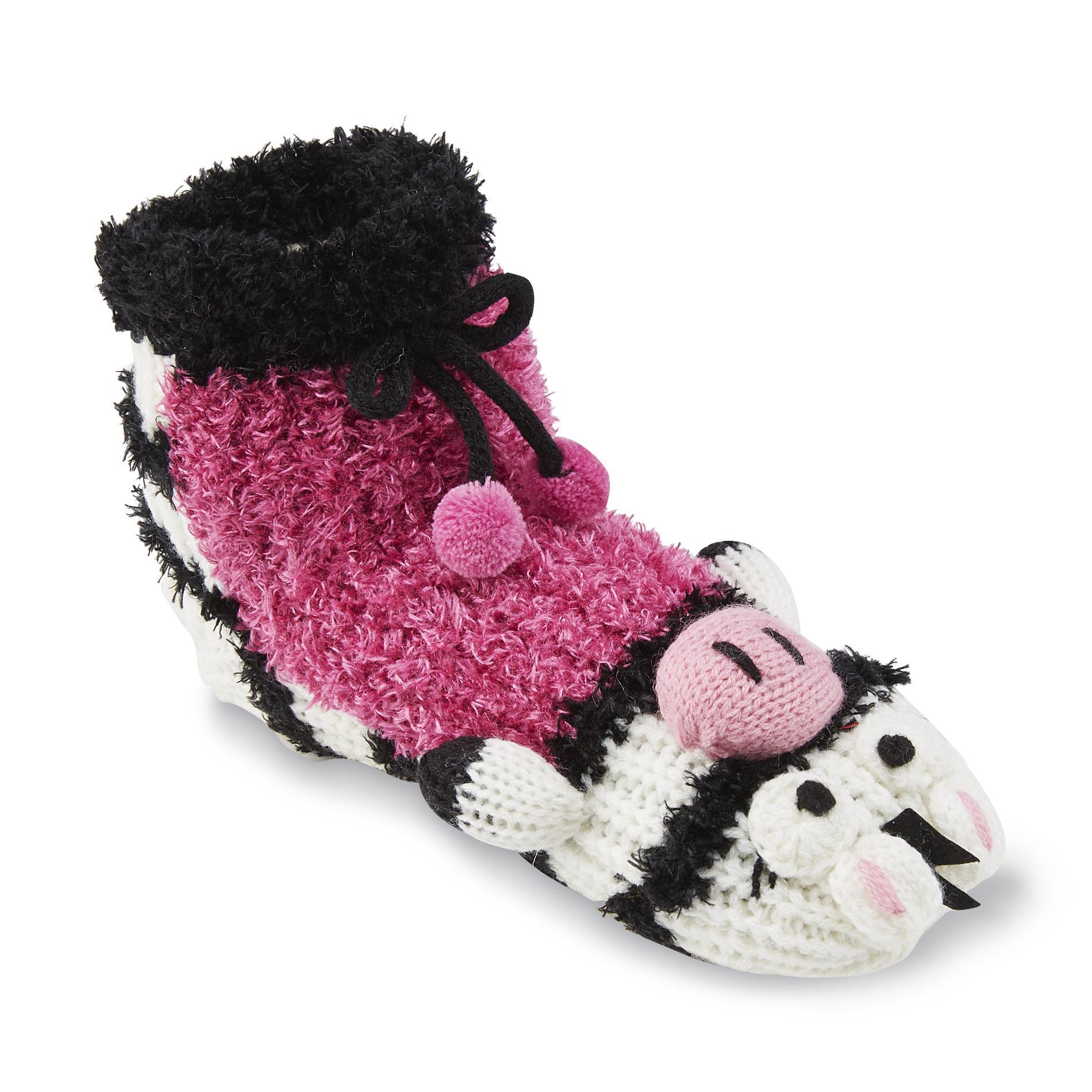 Joe Boxer Women's Plush Slipper Socks - Zebra
