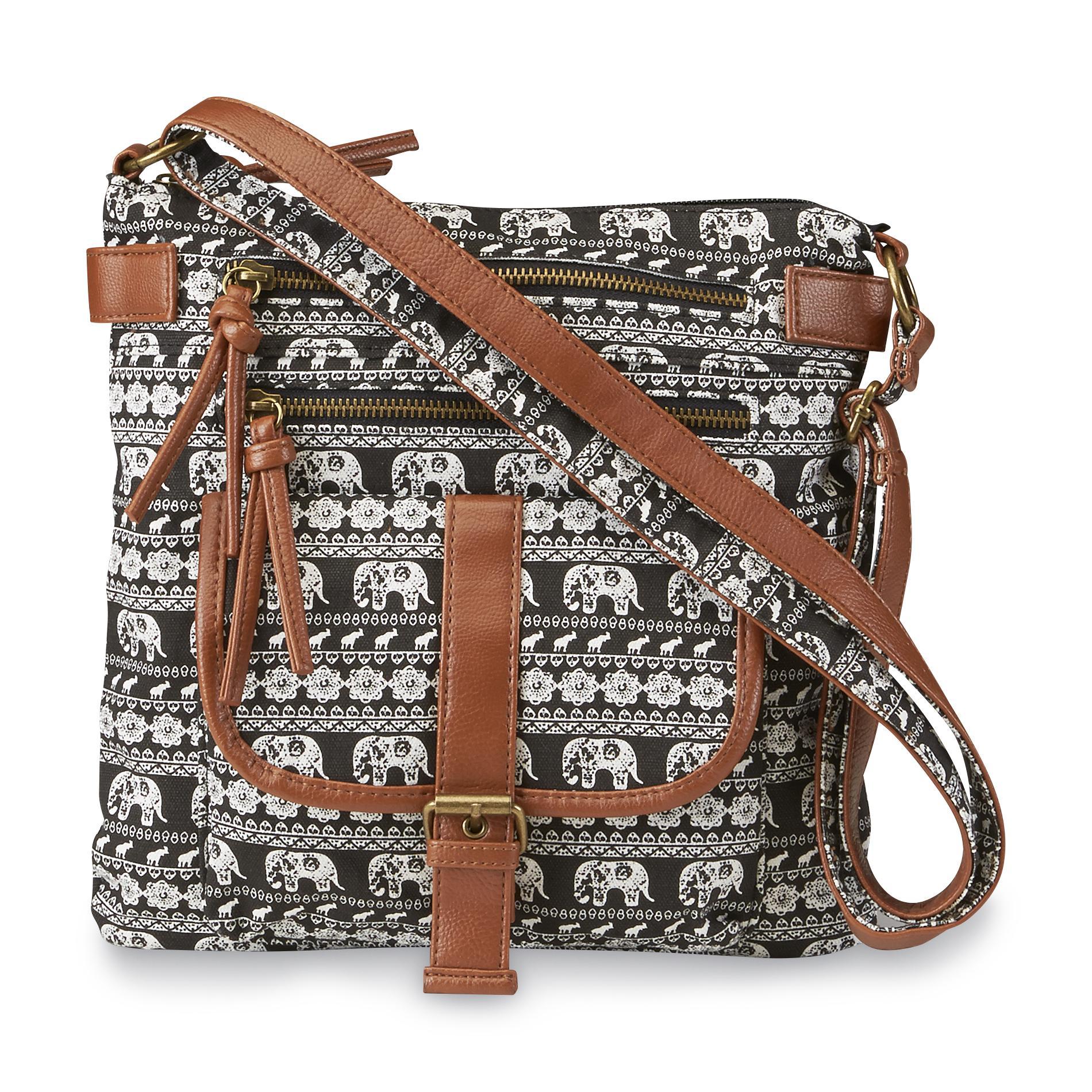 Junior's Rising Sun Elephant-Print Crossbody Handbag