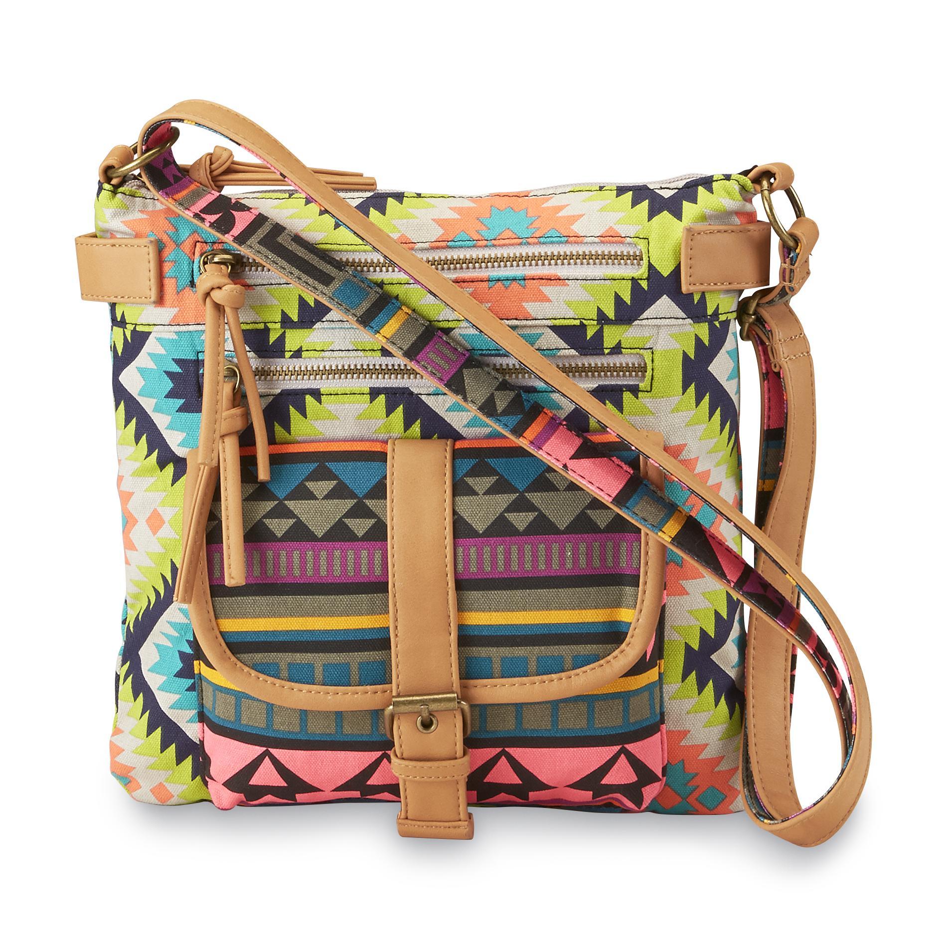 Junior's Rising Sun Tribal-Print Crossbody Handbag