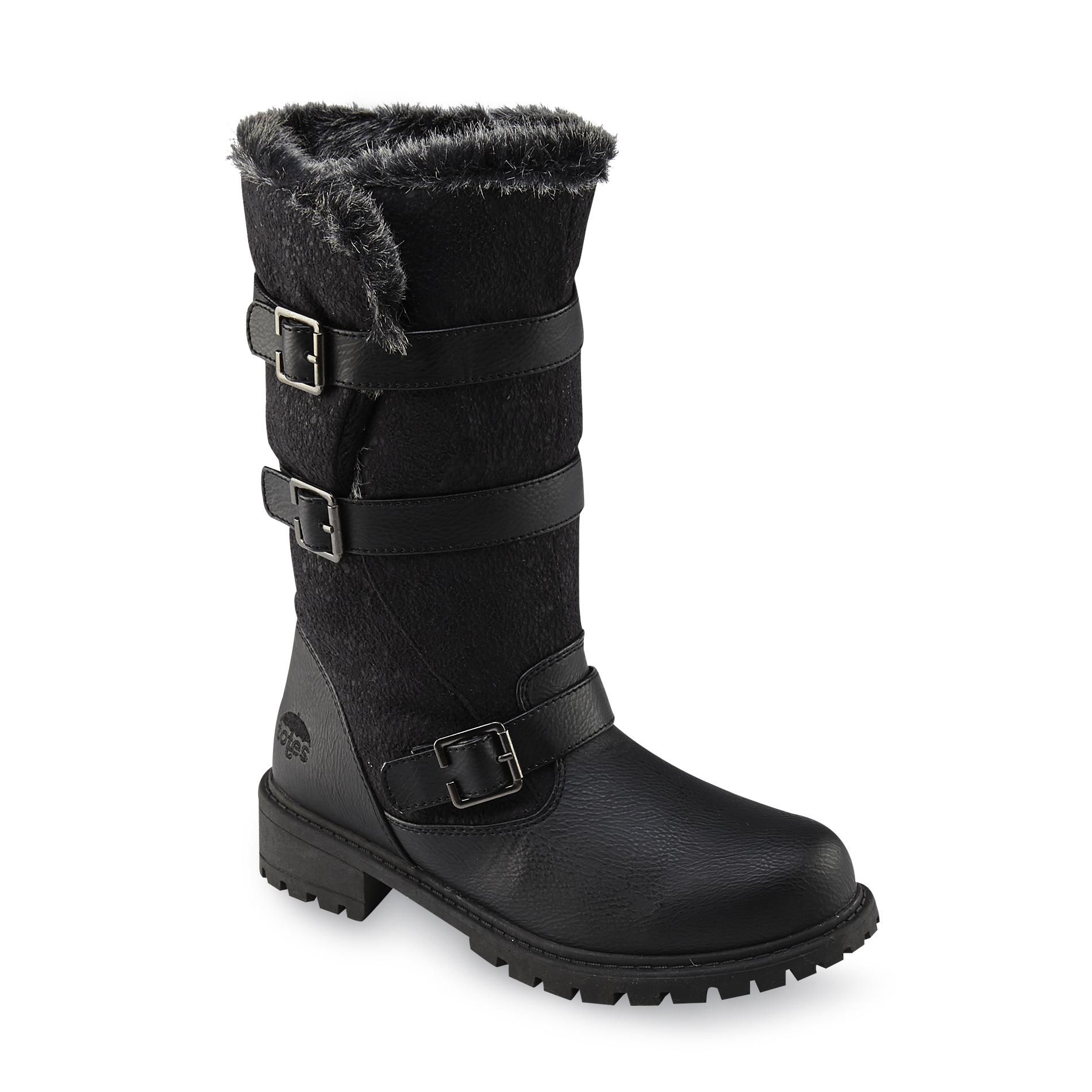 totes s fargo black faux fur mid calf winter snow boot