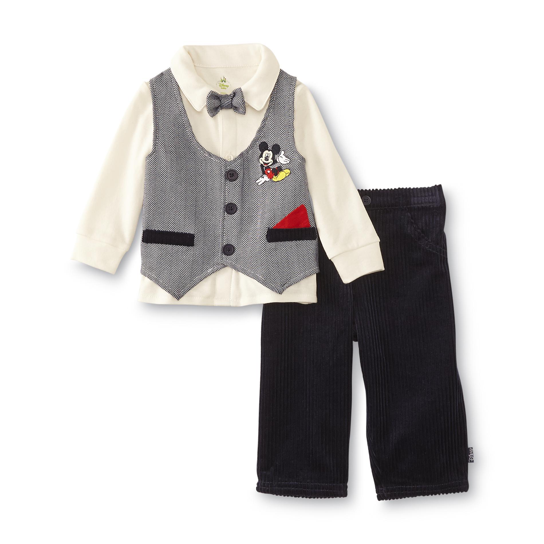 Disney Baby Mickey Mouse Newborn Boy's Shirt, Pants & Bow Tie