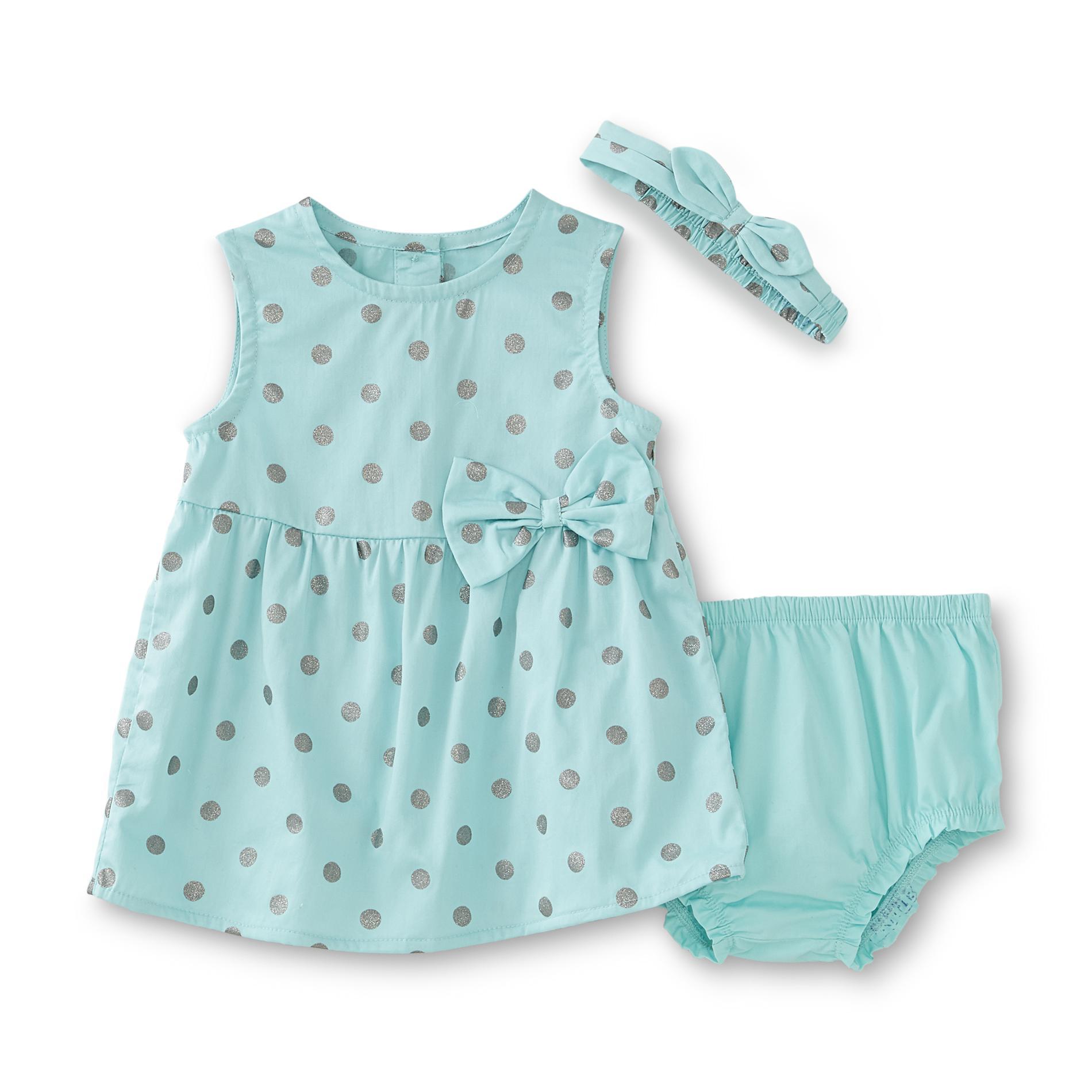 Small Wonders Newborn Girl's Sleeveless Dress, Headband & Diaper Cover